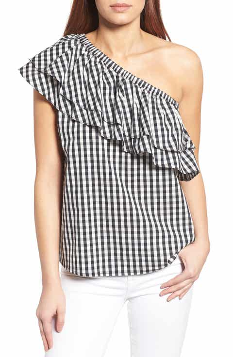Halogen® One-Shoulder Cotton Poplin Top (Regular   Petite)
