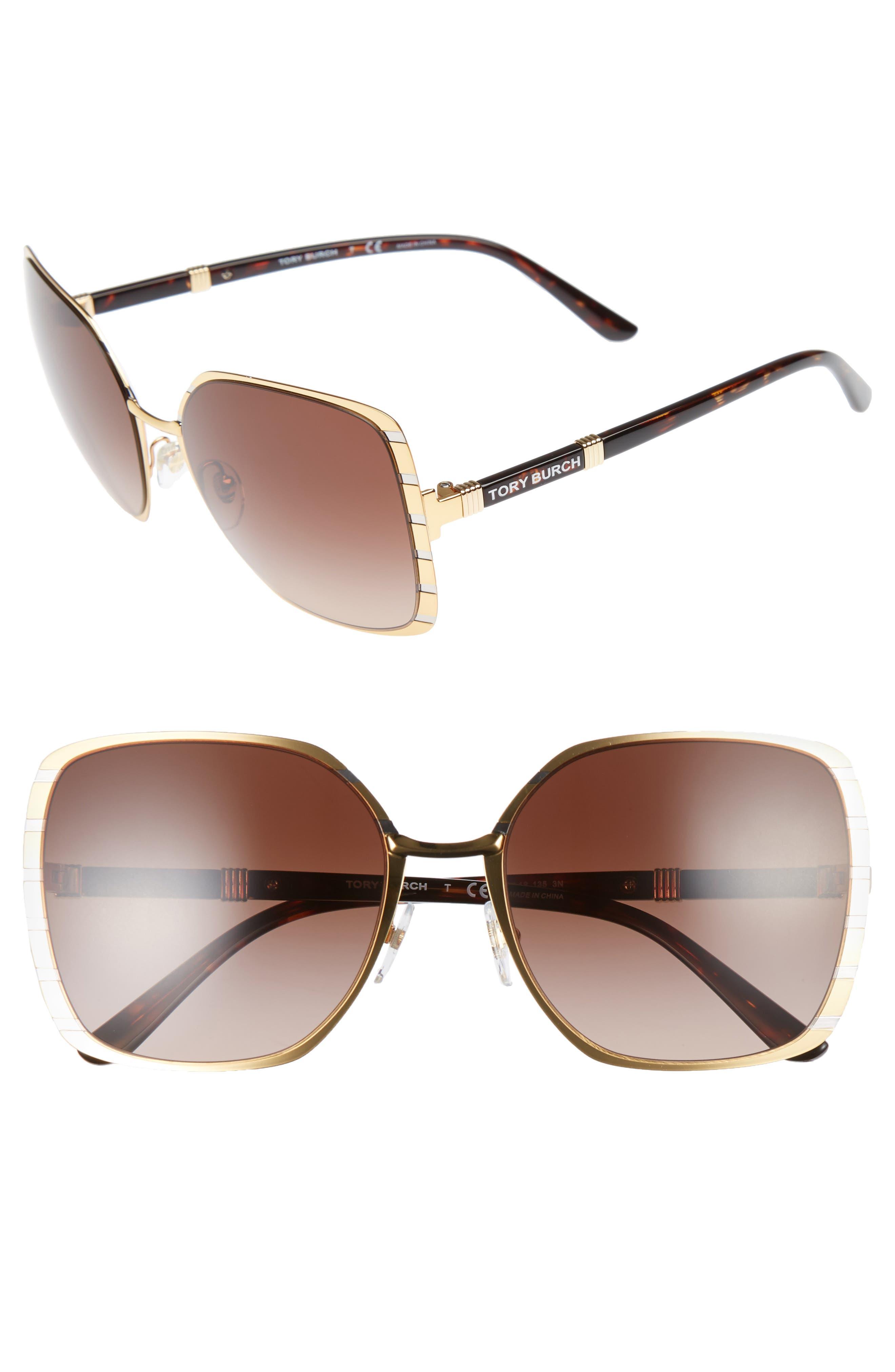 Main Image - Tory Burch 57mm Gradient Square Sunglasses