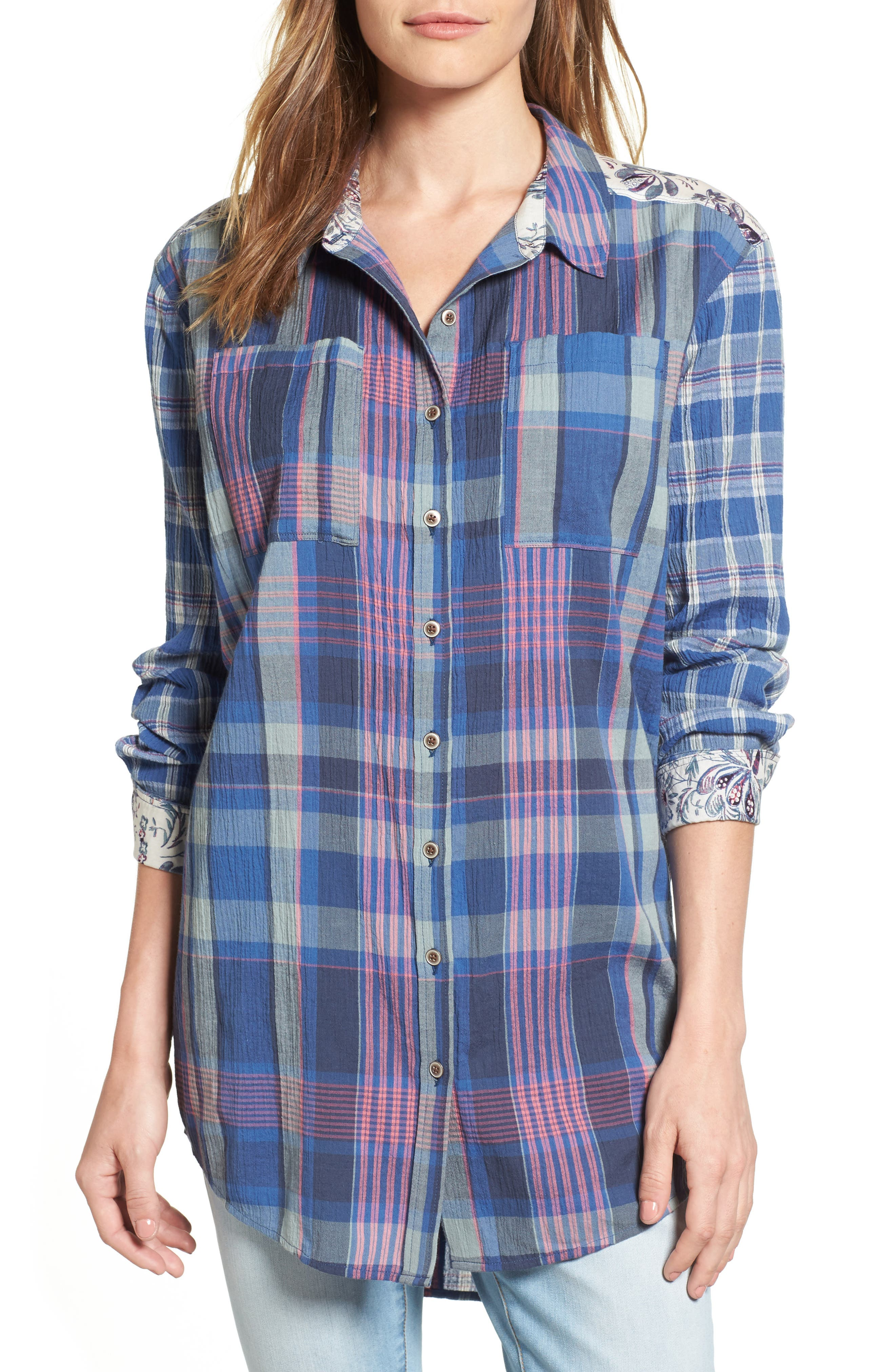 Caslon® Plaid & Floral Tunic Shirt (Regular & Petite)