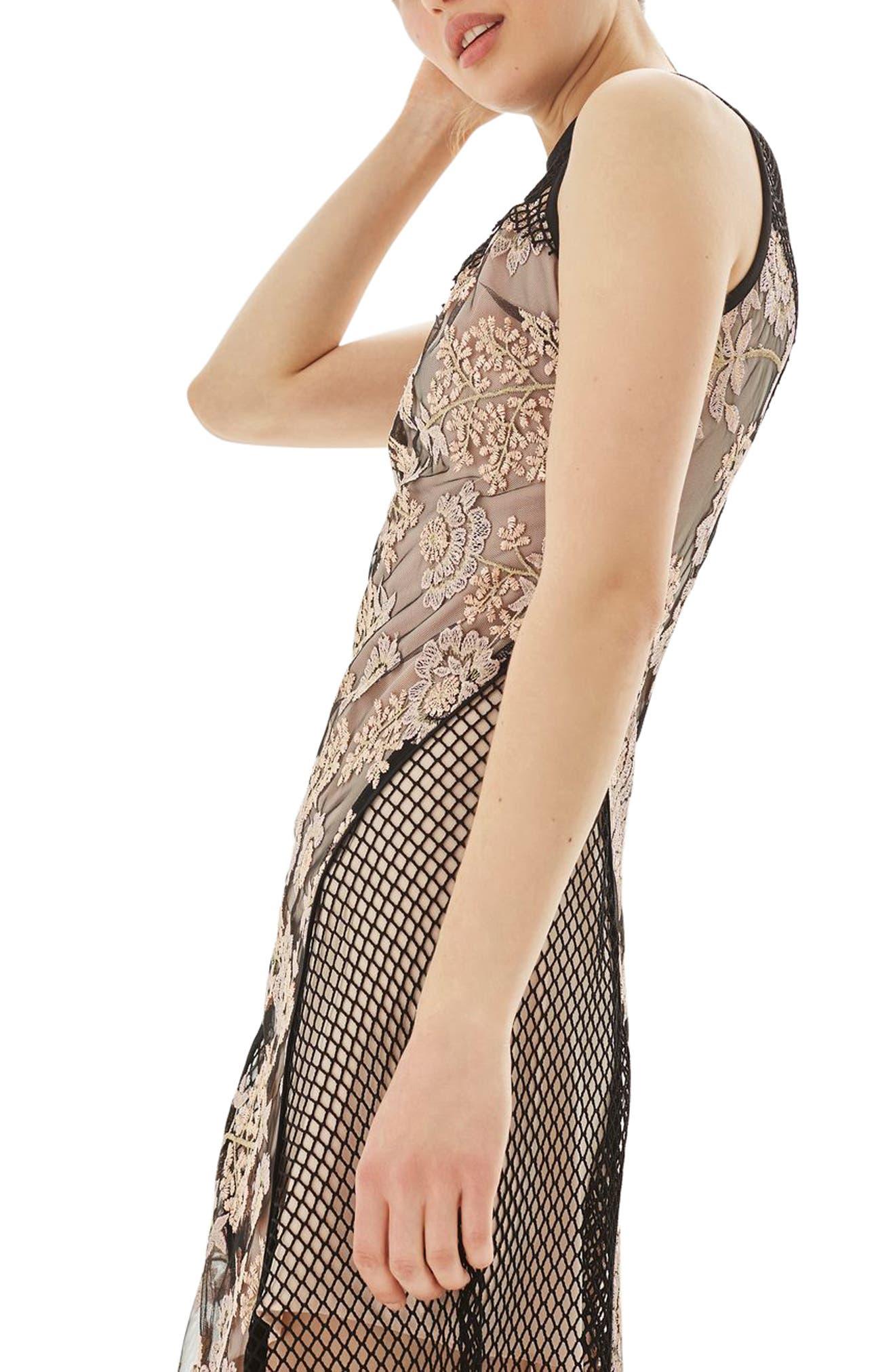 Alternate Image 3  - Topshop Lace & Fishnet Midi Dress