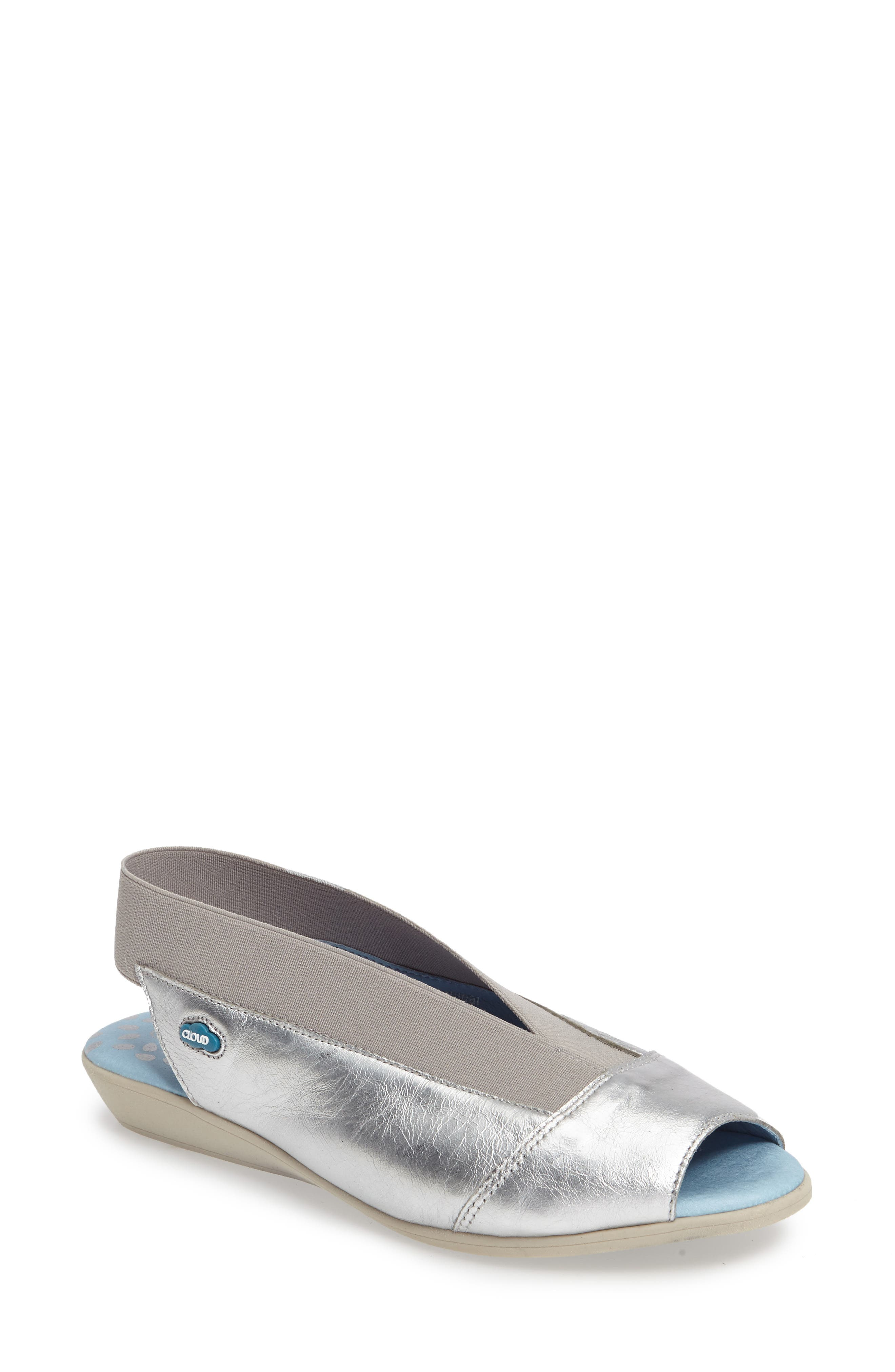 CLOUD 'Caliber' Peep Toe Leather Flat