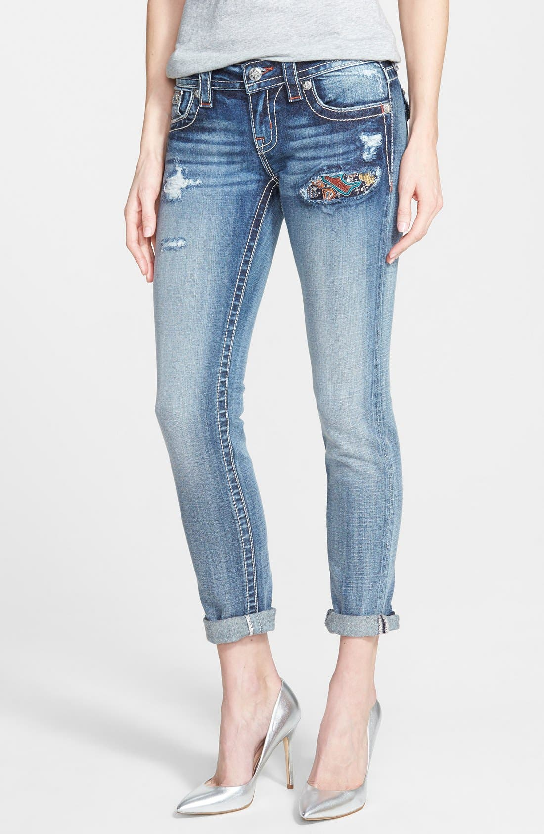 Main Image - Miss Me Distressed Skinny Ankle Jeans with Roll Hems (Medium Blue)