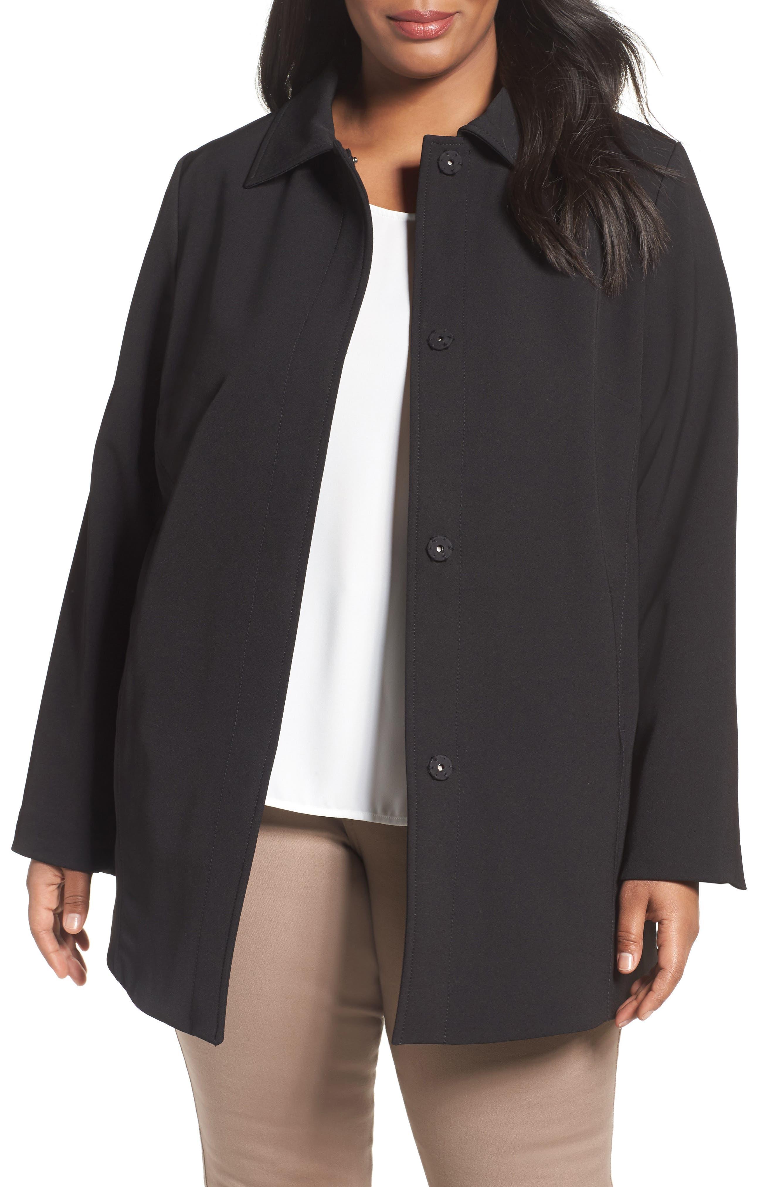 Tahari Jordan A-Line Crepe Coat (Plus Size)