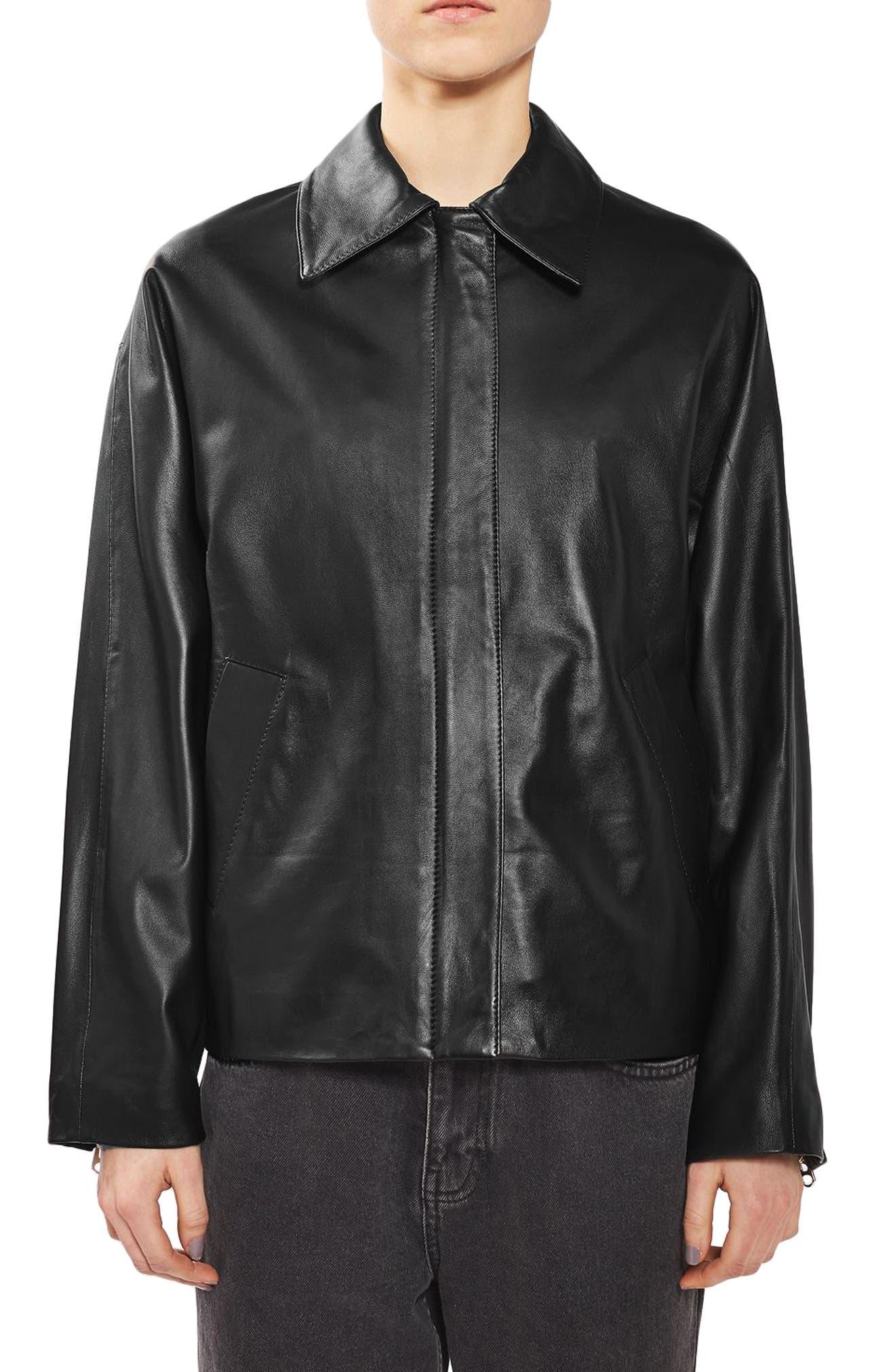 Topshop Boutique Leather Biker Shirt Jacket