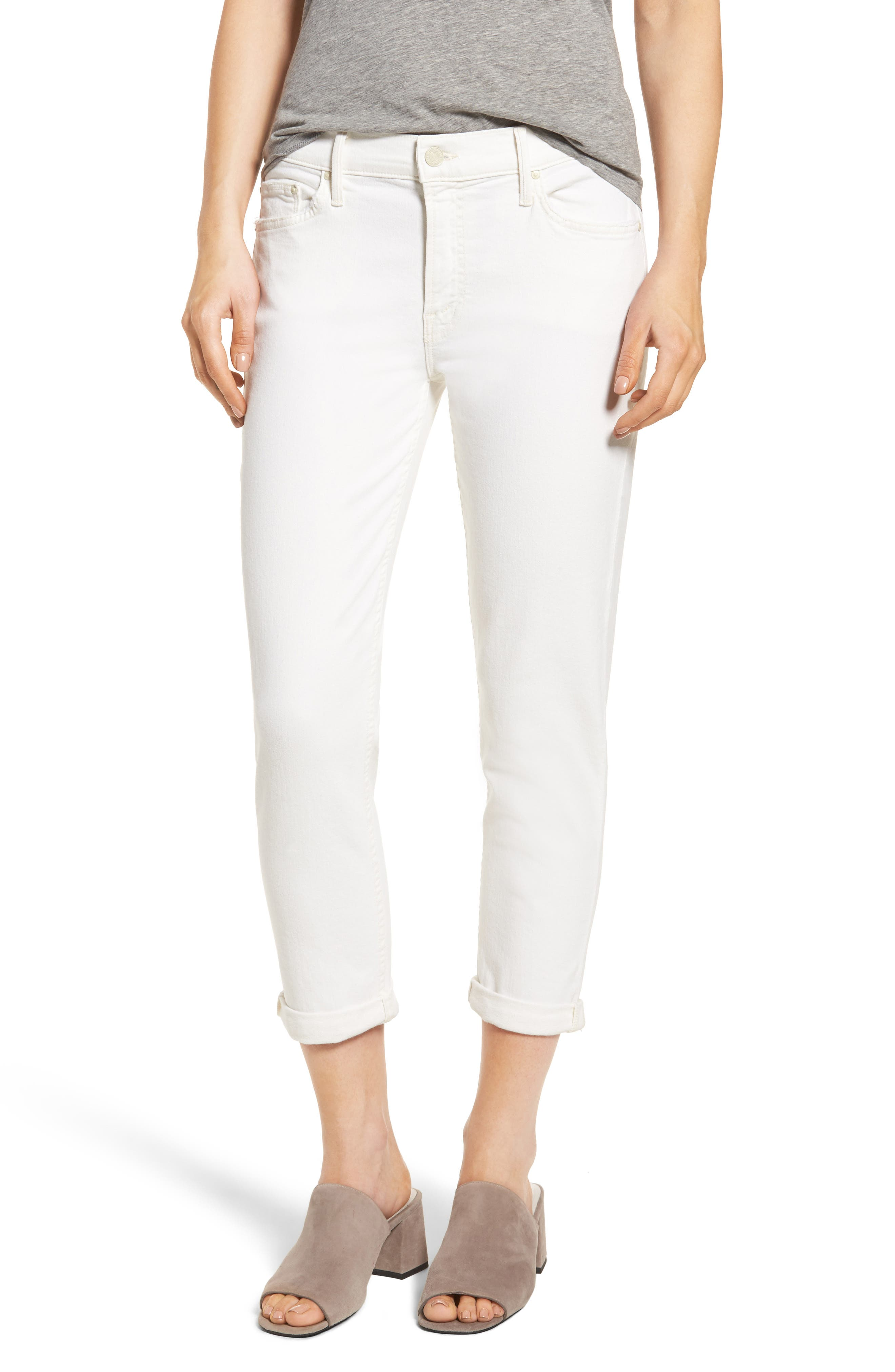 MOTHER The Dropout Crop Boyfriend Jeans (Whipping the Cream)