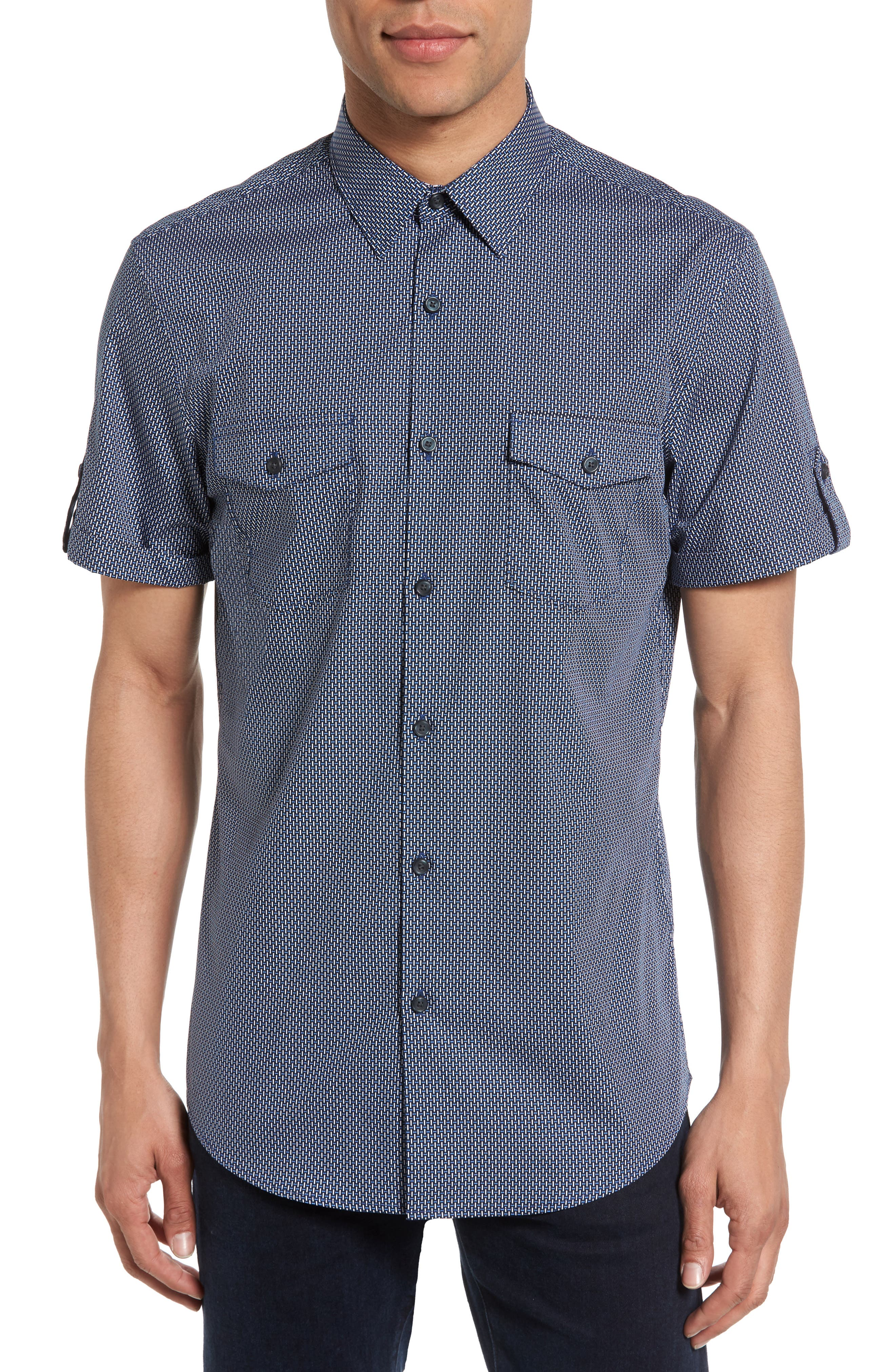 Calibrate Non-Iron Basketweave Print Woven Shirt