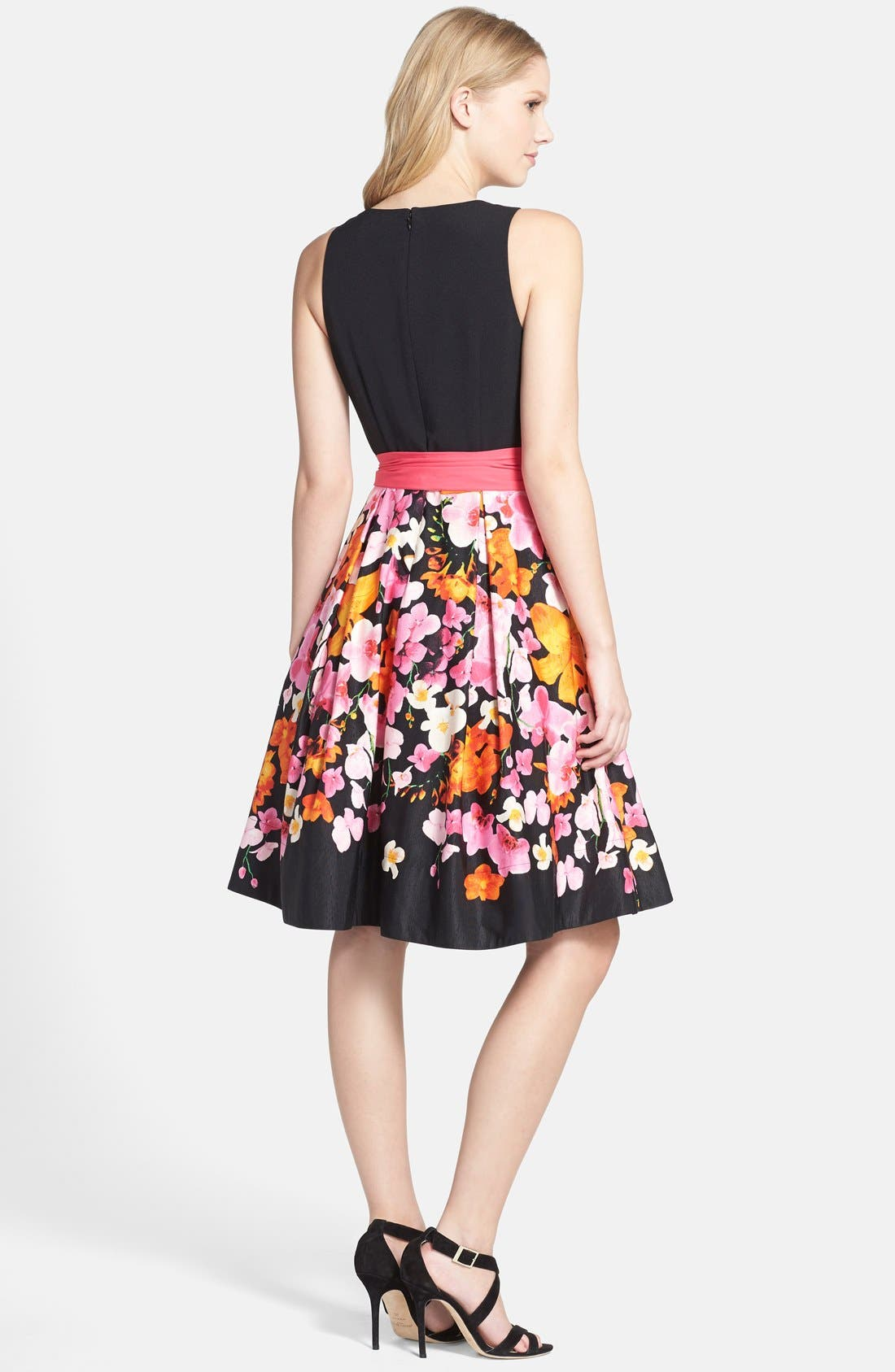 Alternate Image 2  - Eliza J Floral Print Faille Fit & Flare Dress (Regular & Petite)