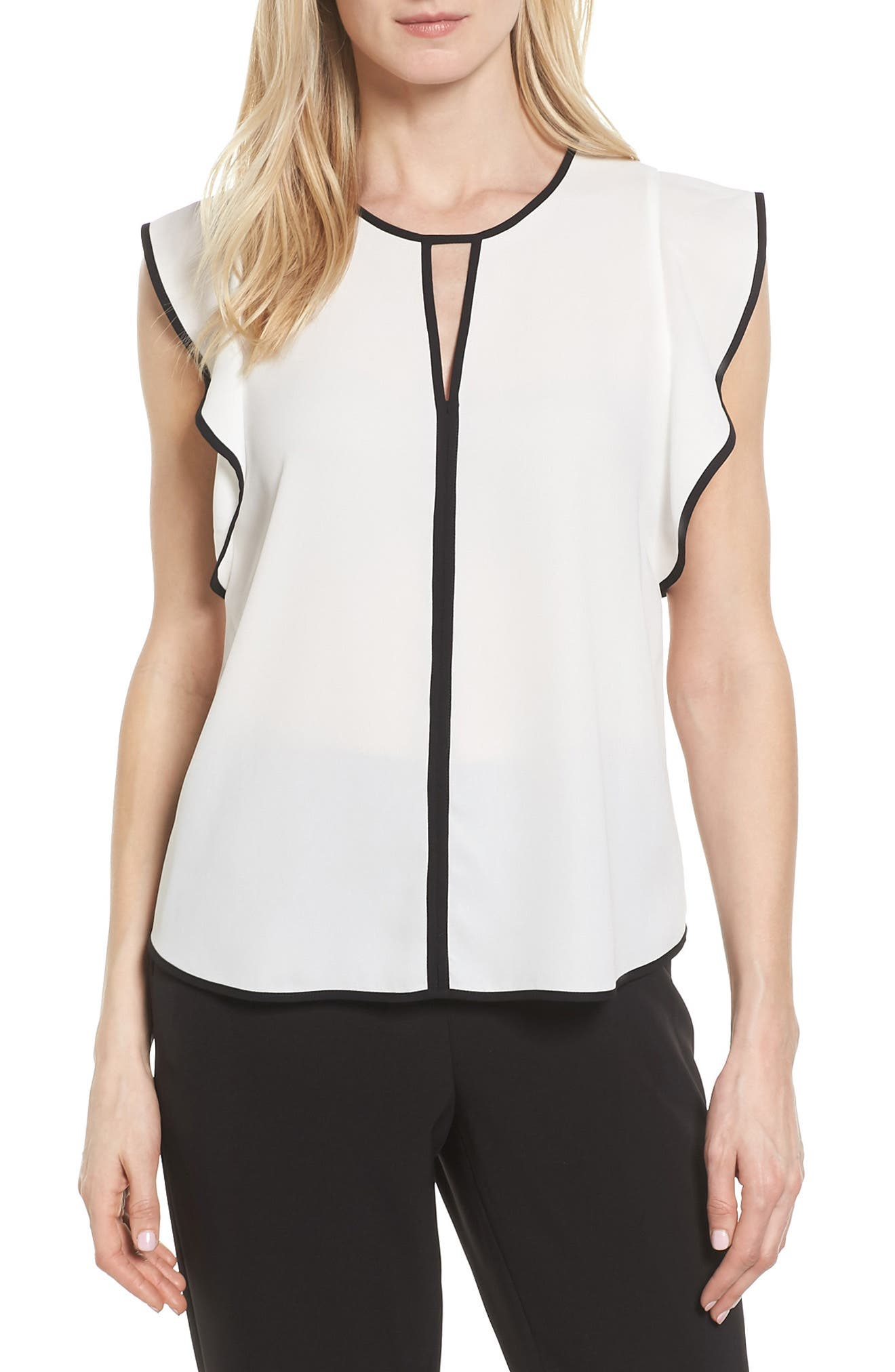Vince Camuto Contrast Piped Keyhole Blouse (Regular & Petite)