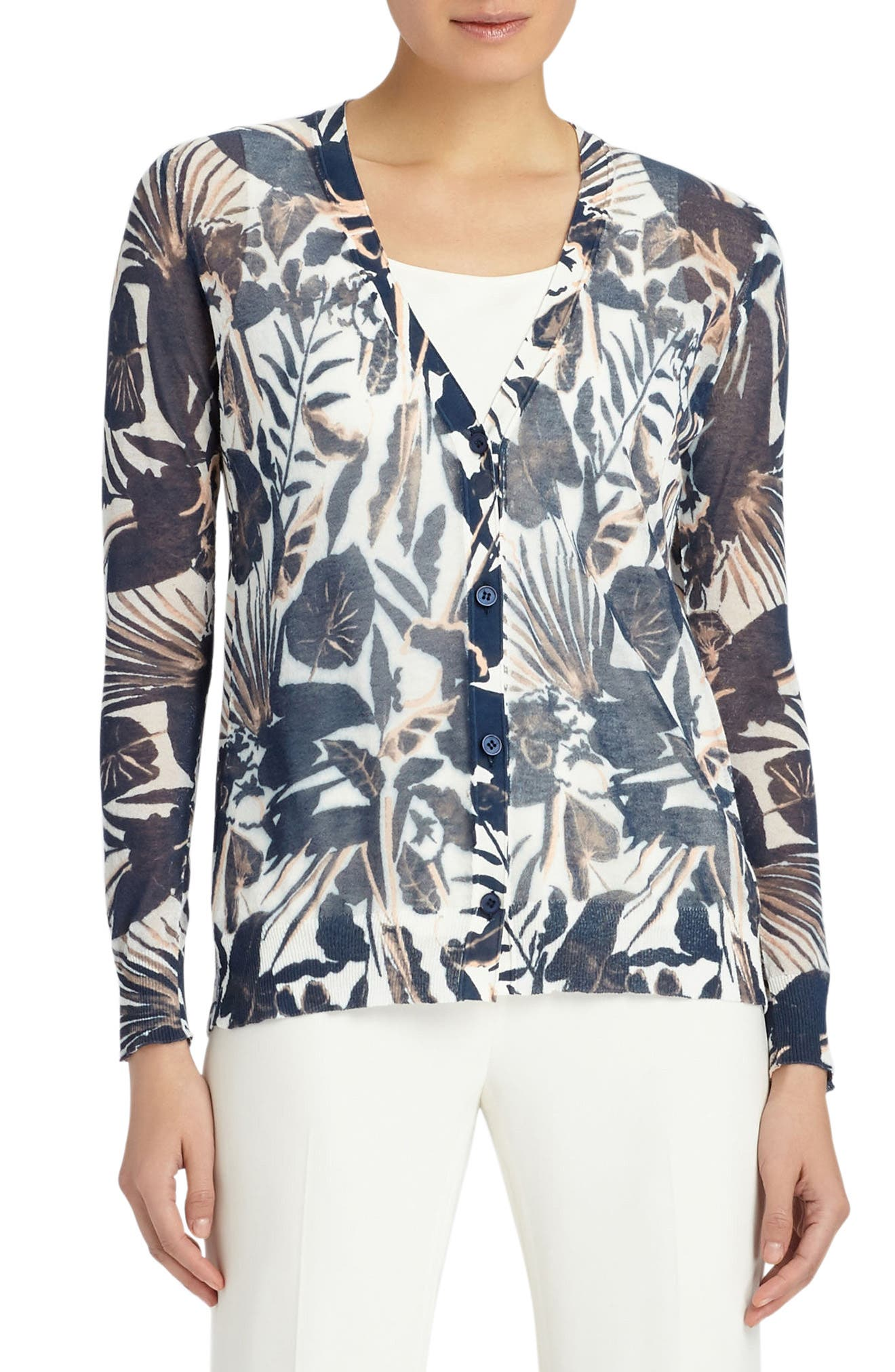 Lafayette 148 New York Chantilly Print Cotton Blend Cardigan