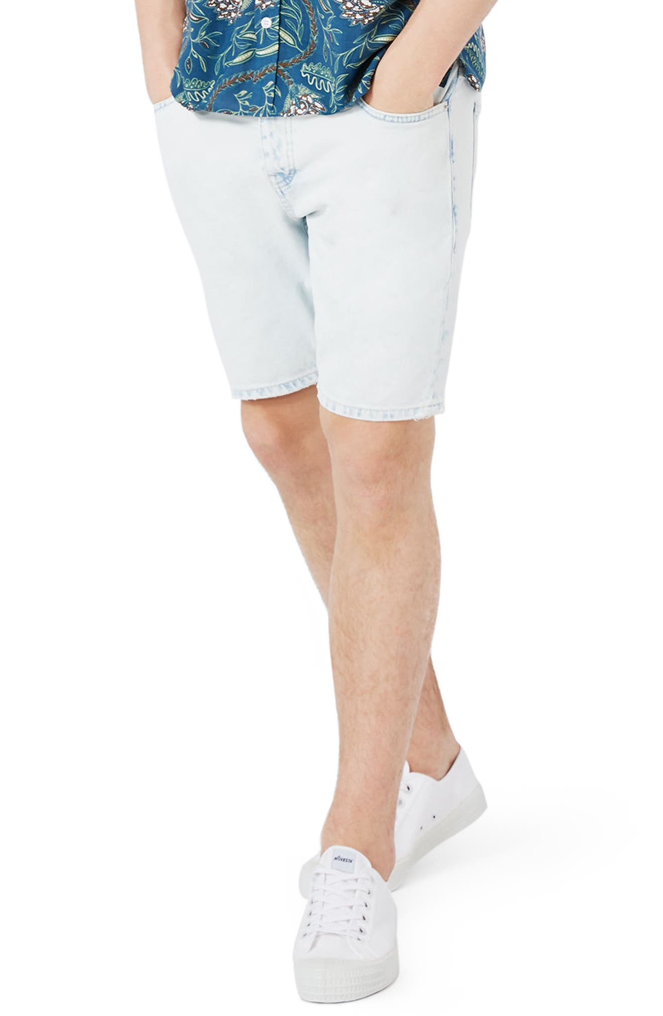 Topman Slim Fit Bleached Denim Shorts