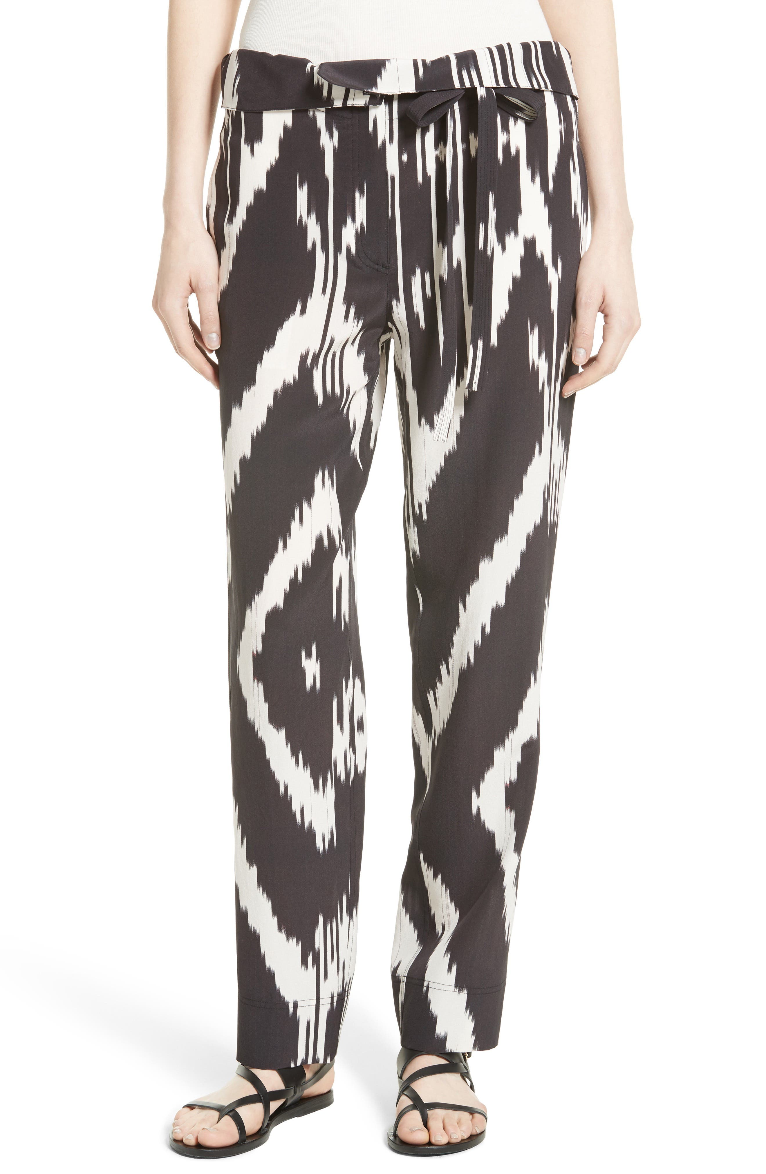 Theory Gunilla Interlace Ikat Print Silk Pants