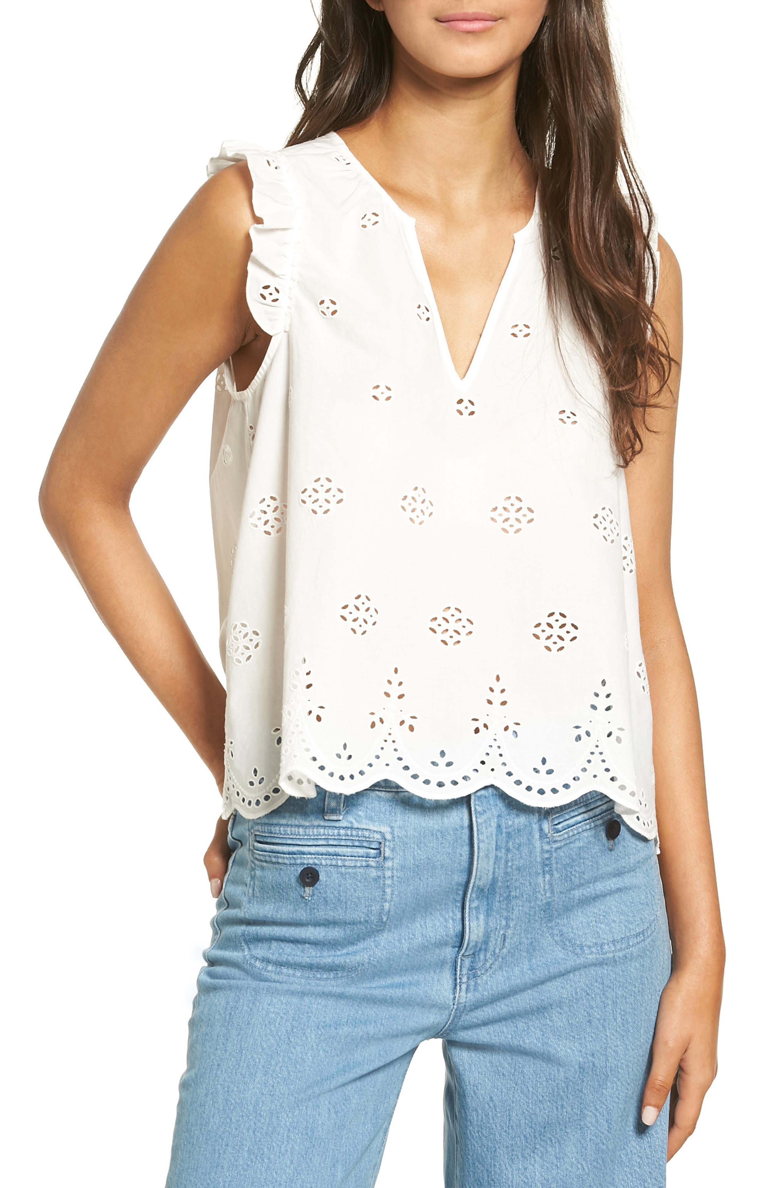 Alternate Image 1 Selected - Madewell Eyelet Garden Sleeveless Top