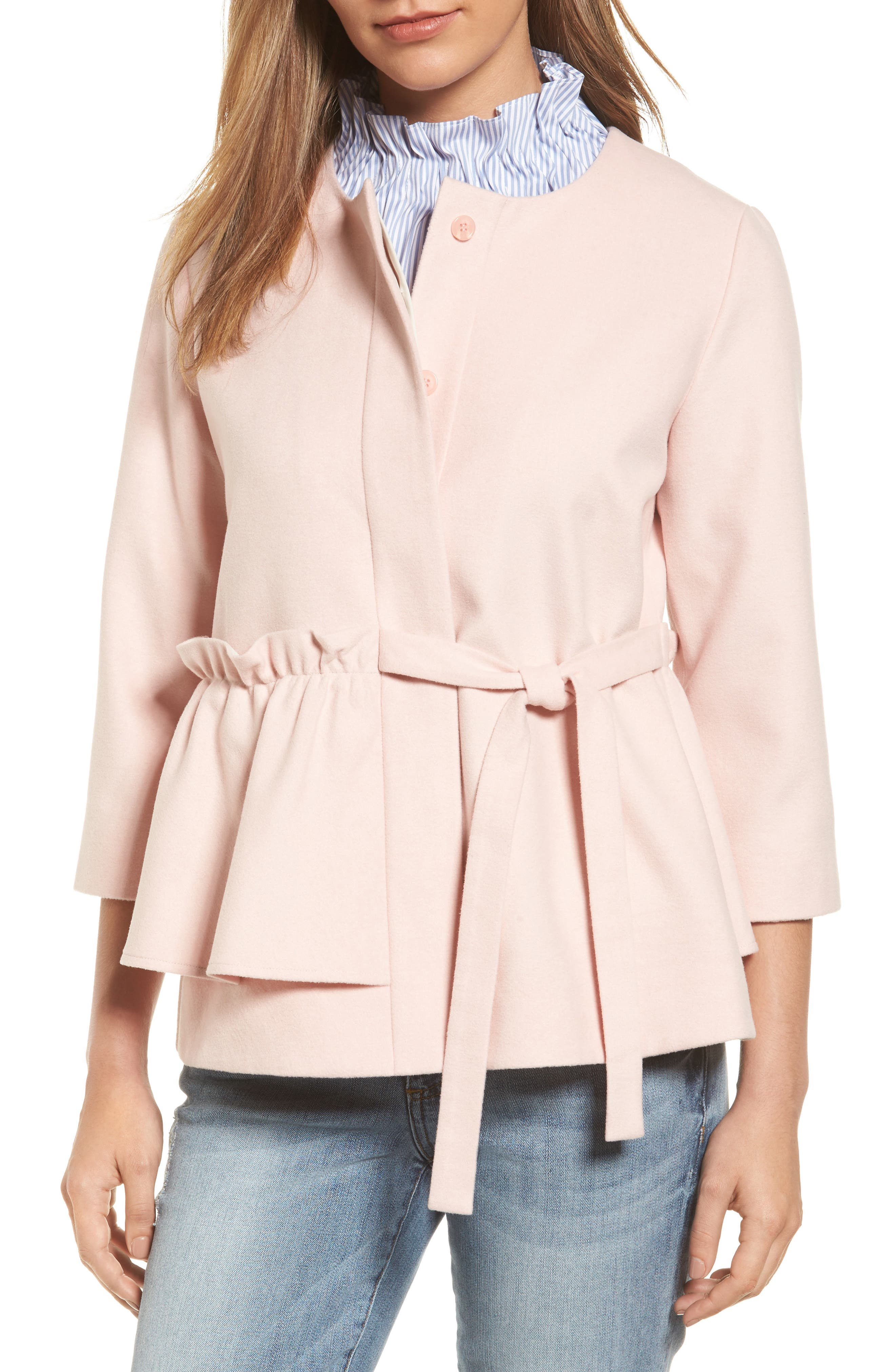 Halogen® Soft Ruffle Jacket (Regular & Petite)