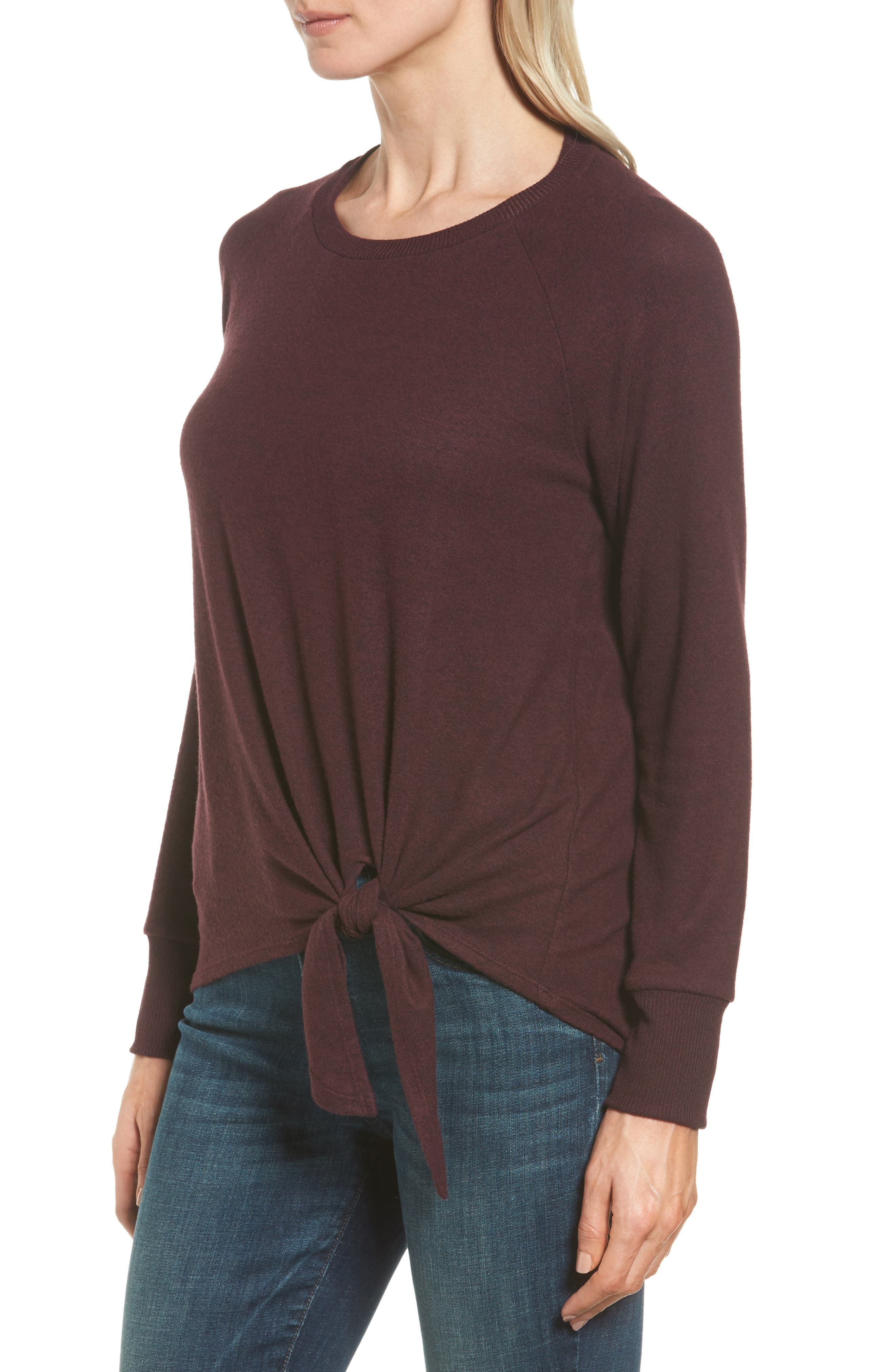 Alternate Image 3  - Gibson Tie Front Cozy Fleece Pullover (Regular & Petite)