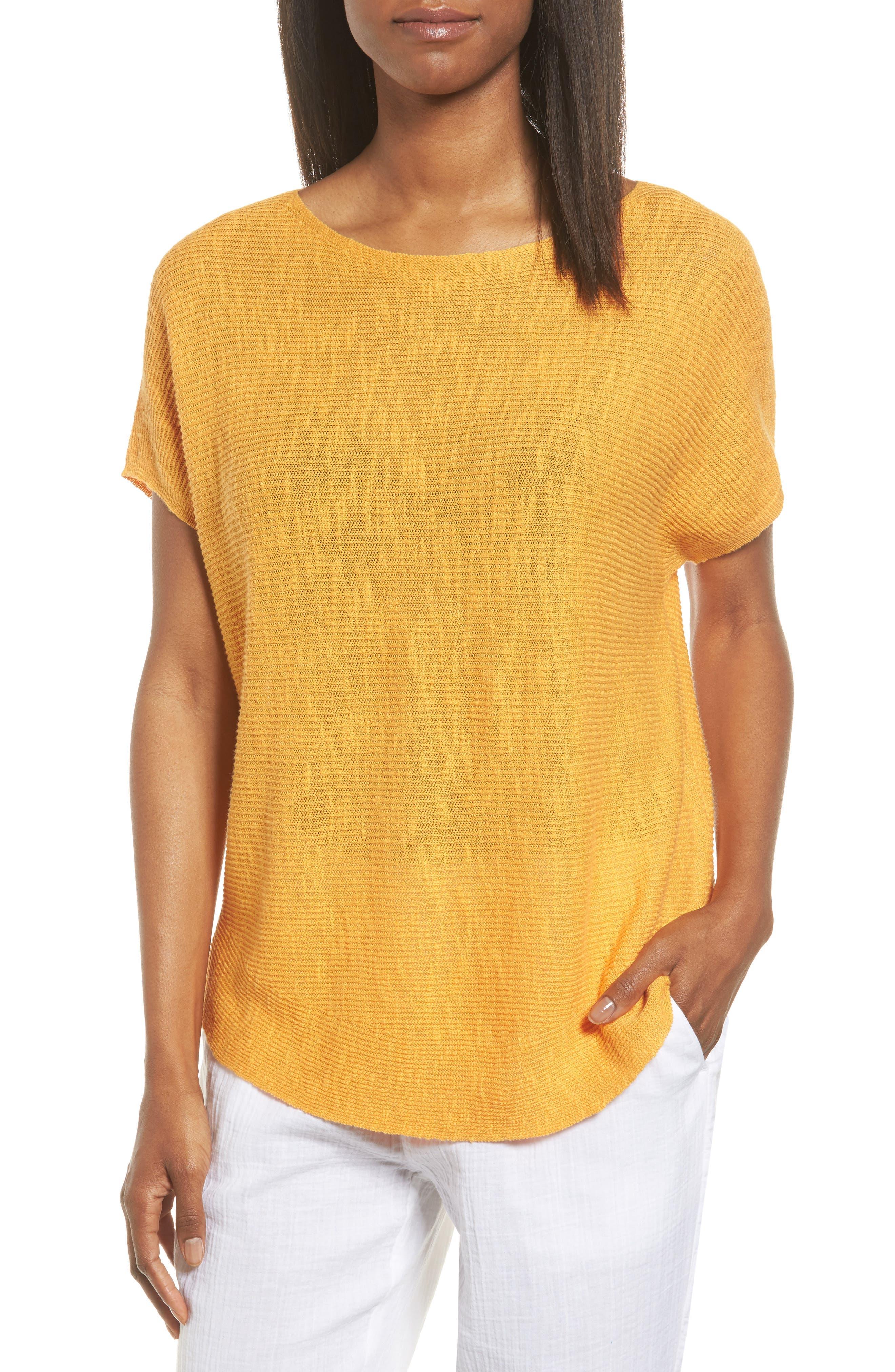 Eileen Fisher Organic Linen & Cotton Knit Top (Regular & Petite)