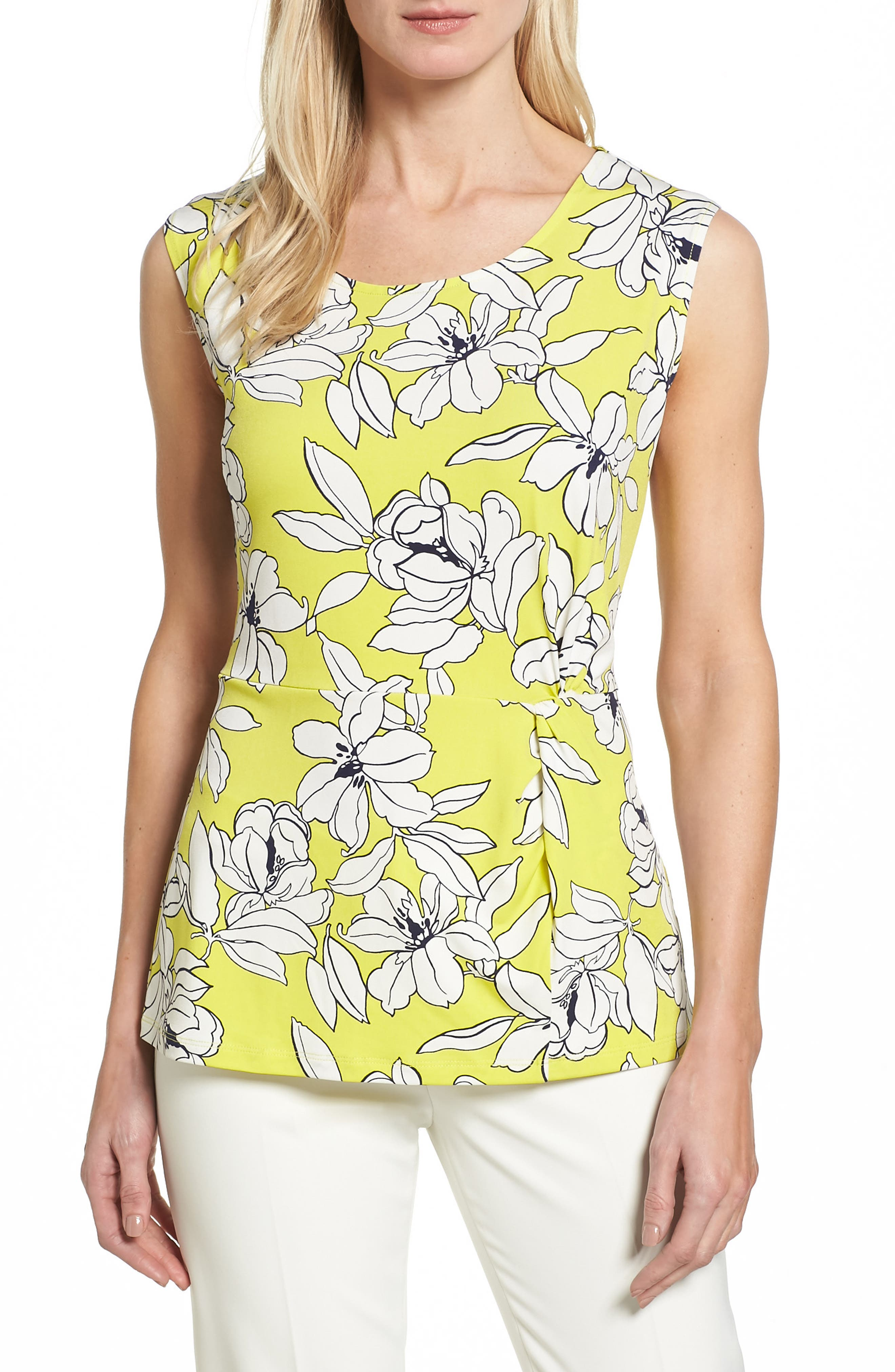 Chaus Tropical Floral Side Pleat Top