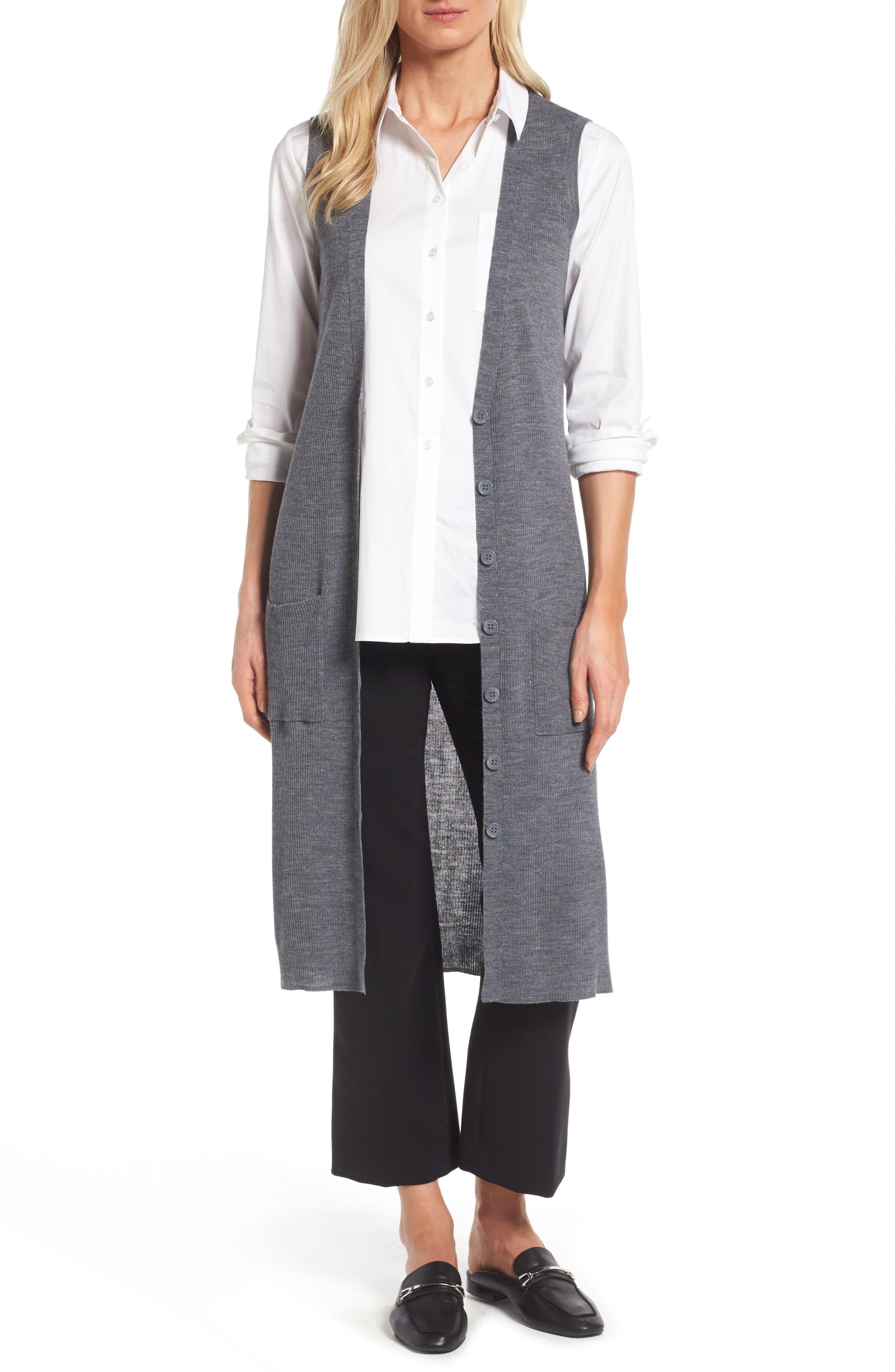 Halogen® Long Merino Wool Blend Sweater Vest (Regular & Petite)