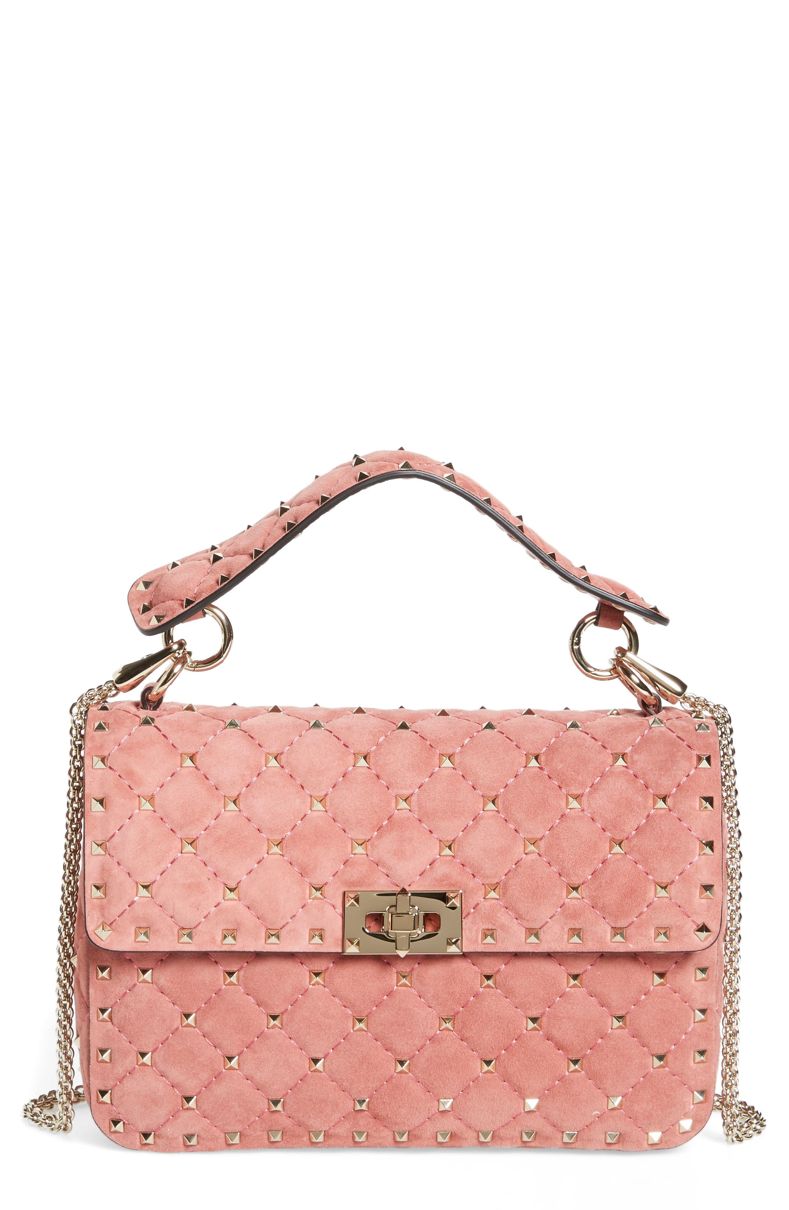 Valentino Rockstud Spike Leather Top Handle Crossbody Bag