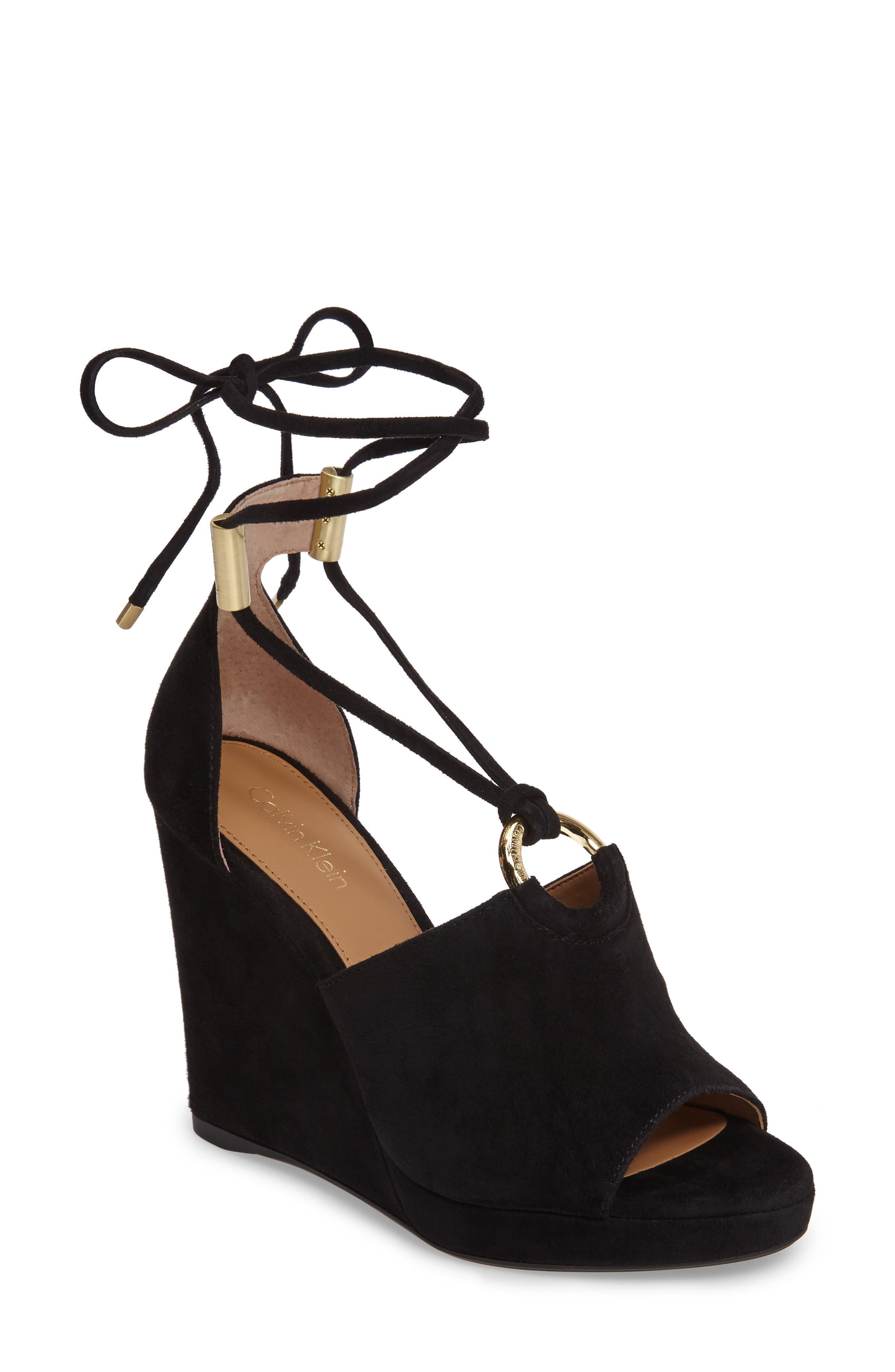 Calvin Klein Ramona Wraparound Wedge Sandal (Women)