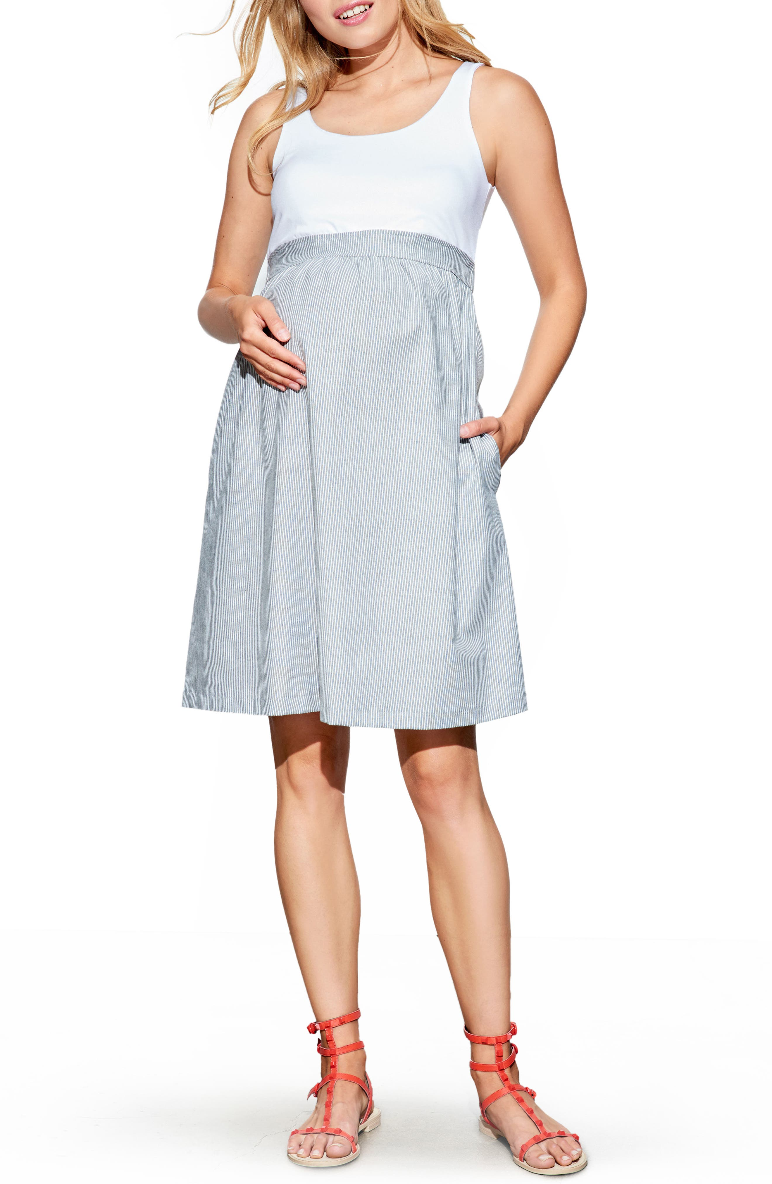 Maternal America Maternity Knit & Woven Dress