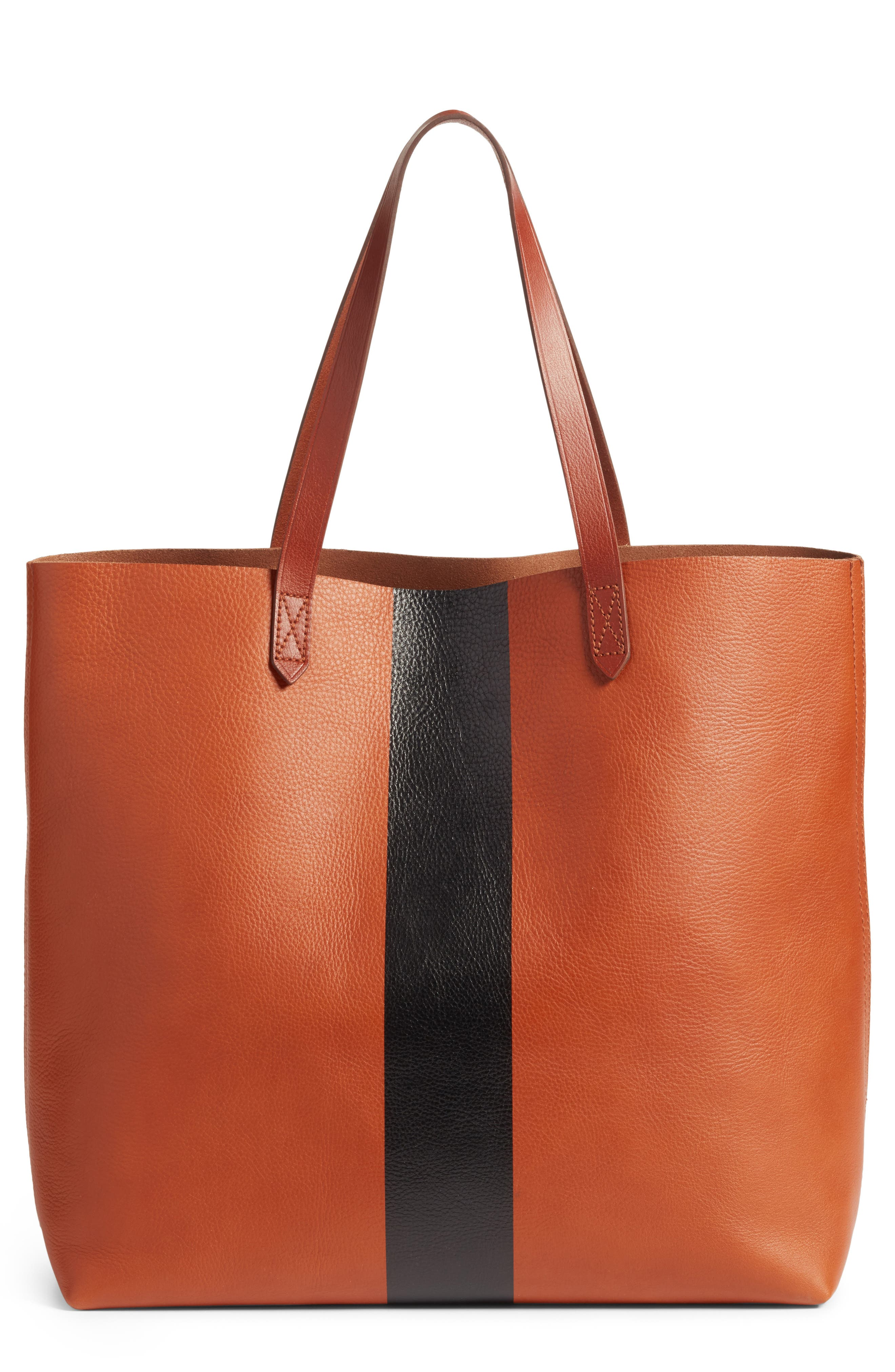 Alternate Image 1 Selected - Madewell Paint Stripe Transport Leather Tote