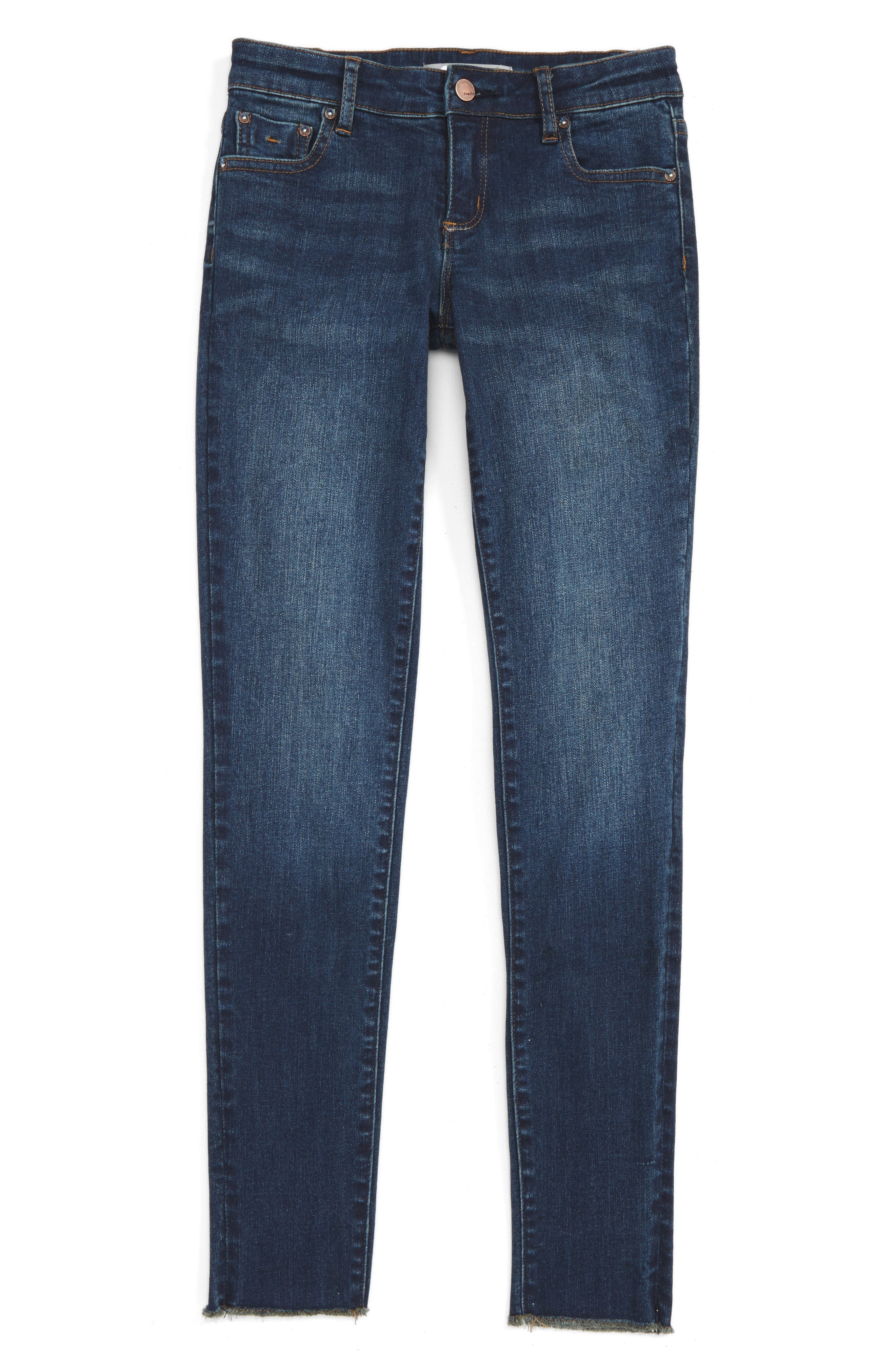Tractr Fray Hem Skinny Jeans (Big Girls)