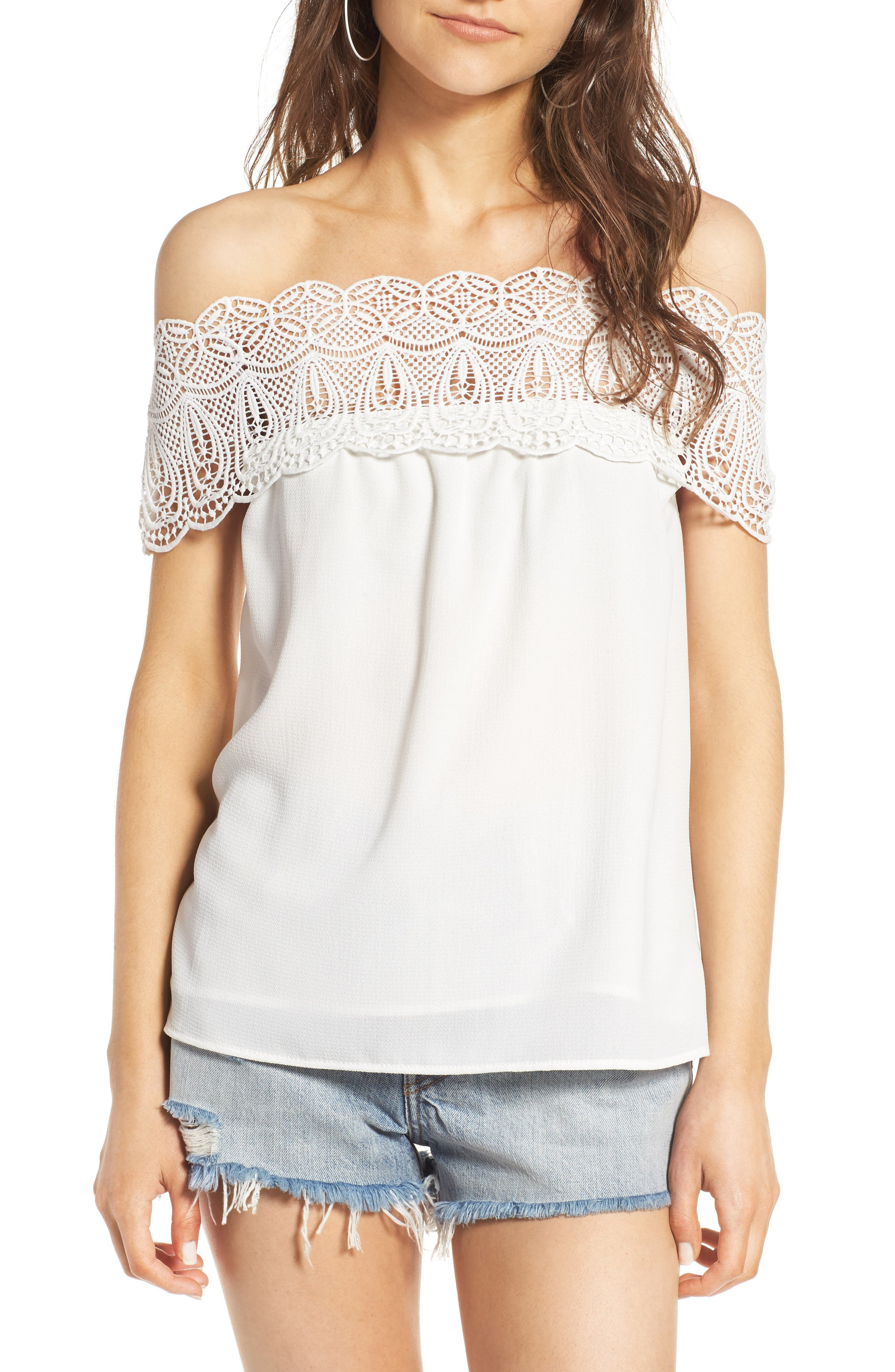 WAYF Lace Off the Shoulder Top