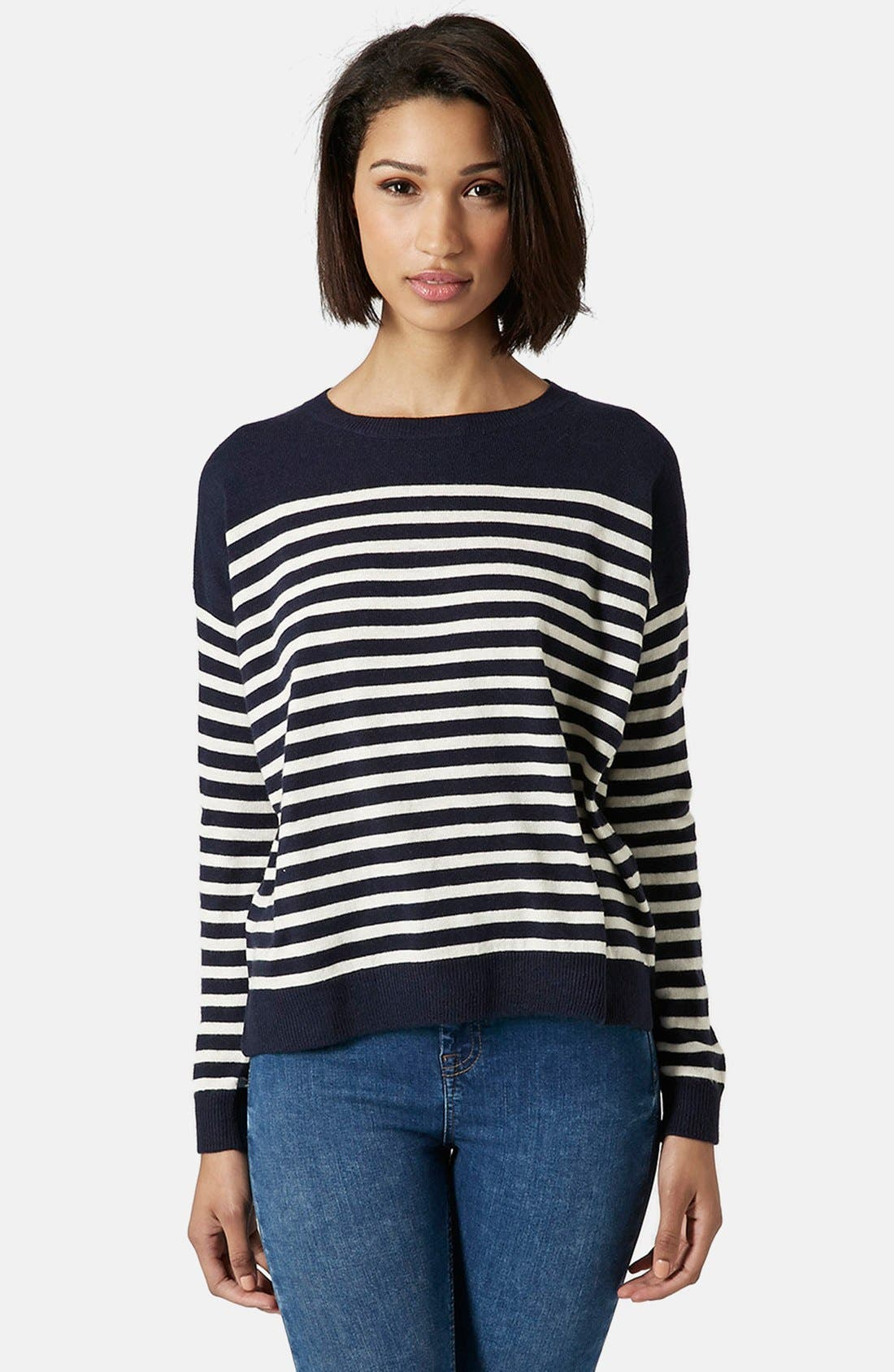 Alternate Image 1 Selected - Topshop Breton Stripe Pullover Sweater