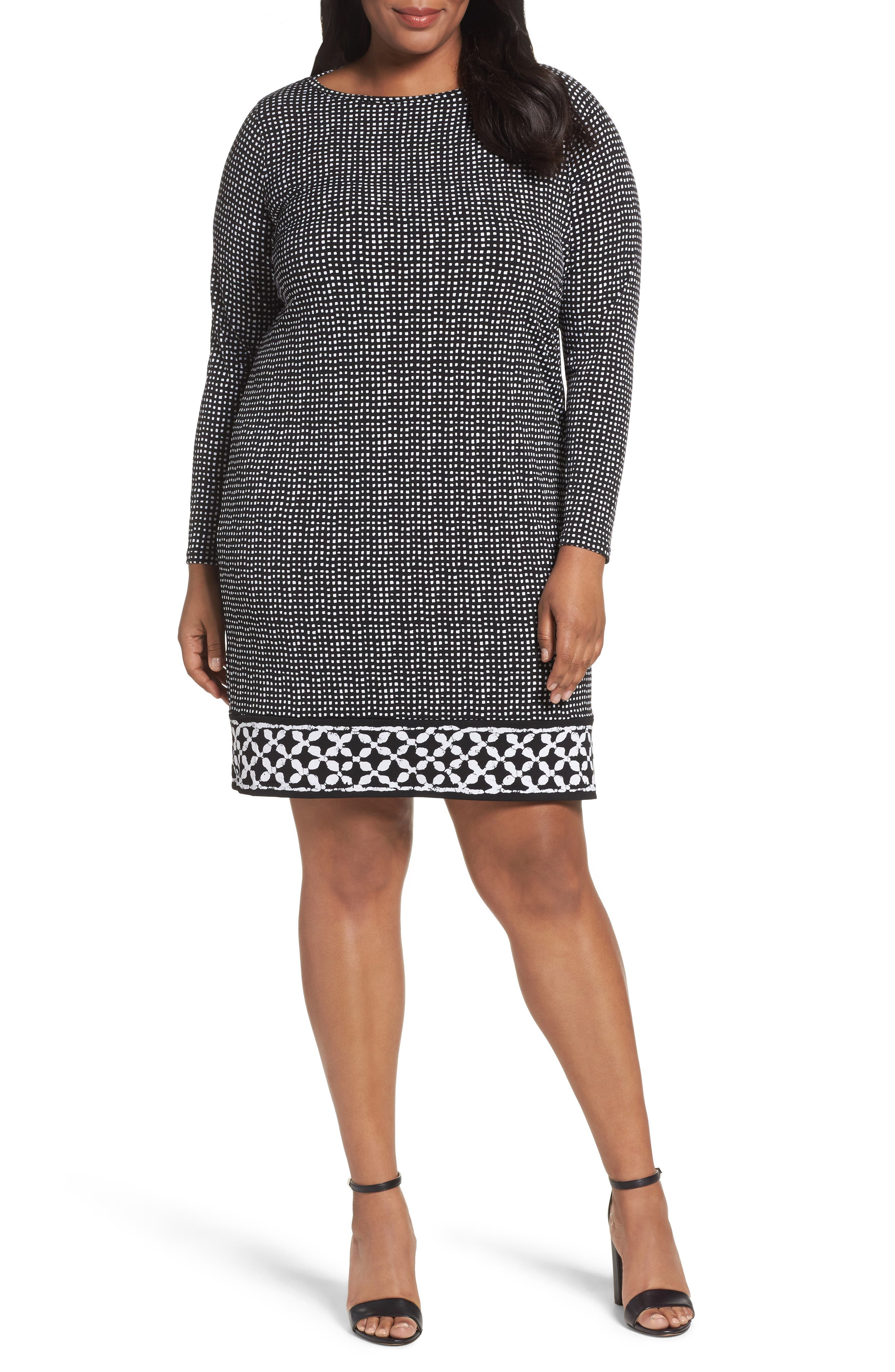 MICHAEL Michael Kors Nezla Border Print Jersey Shift Dress (Plus Size)