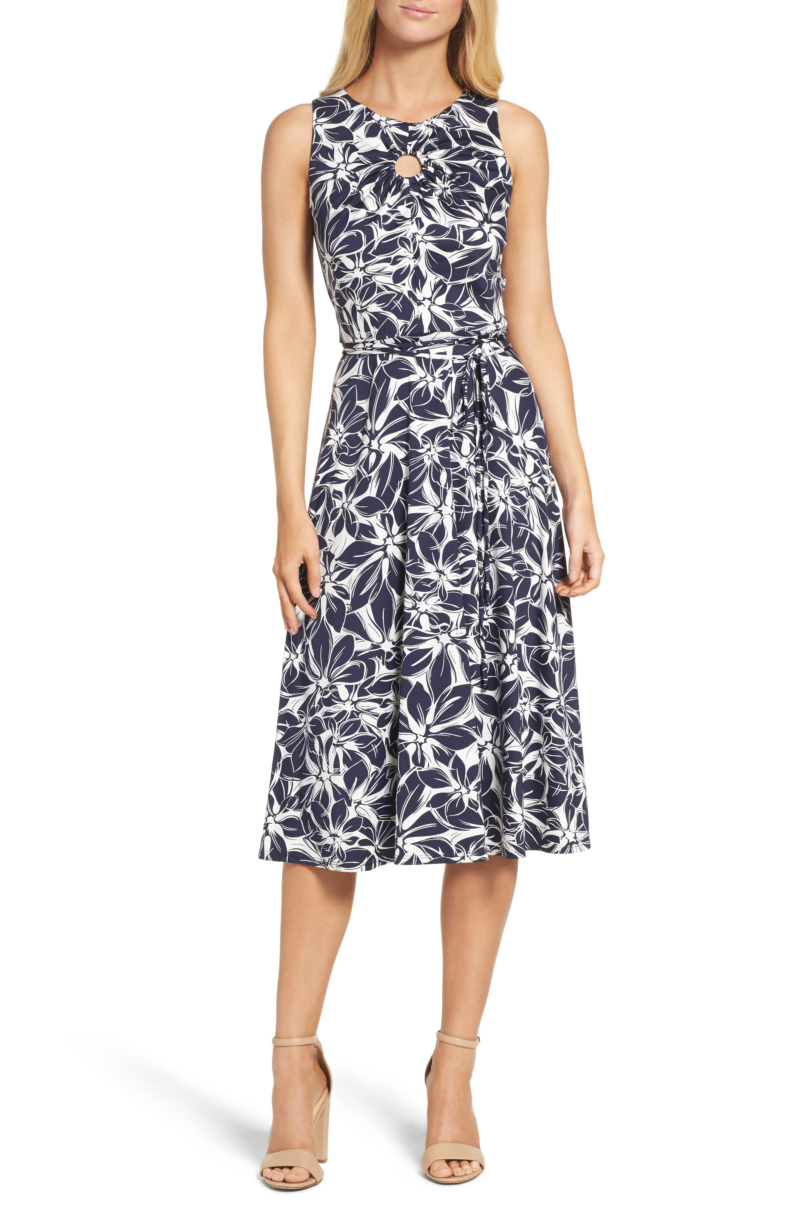 Gabby Skye Belted Floral Midi Dress