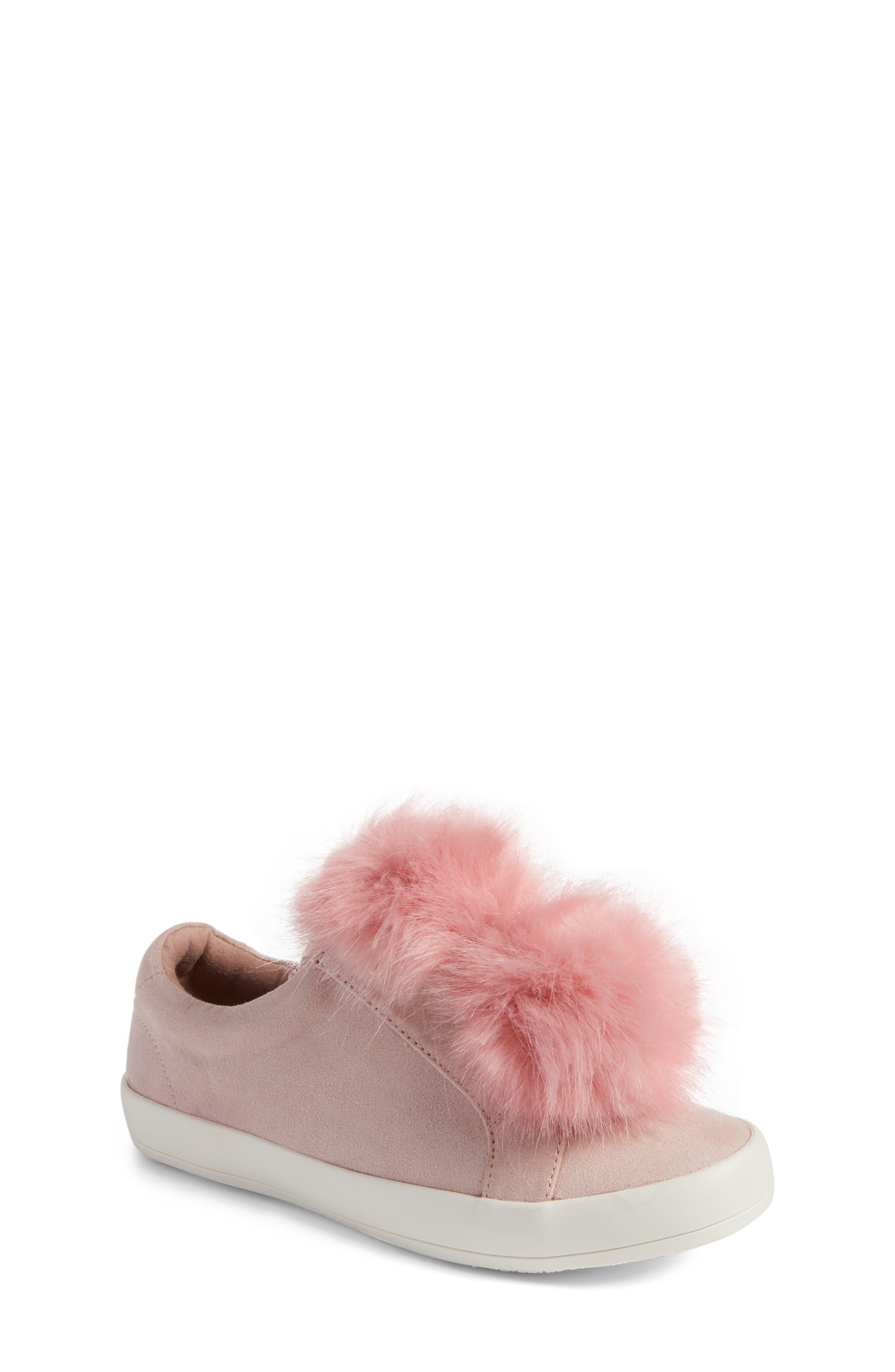 Main Image - Sam Edelman Cynthia Leya Faux Fur Pompom Slip-On Sneaker (Toddler, Little Kid & Big Kid)