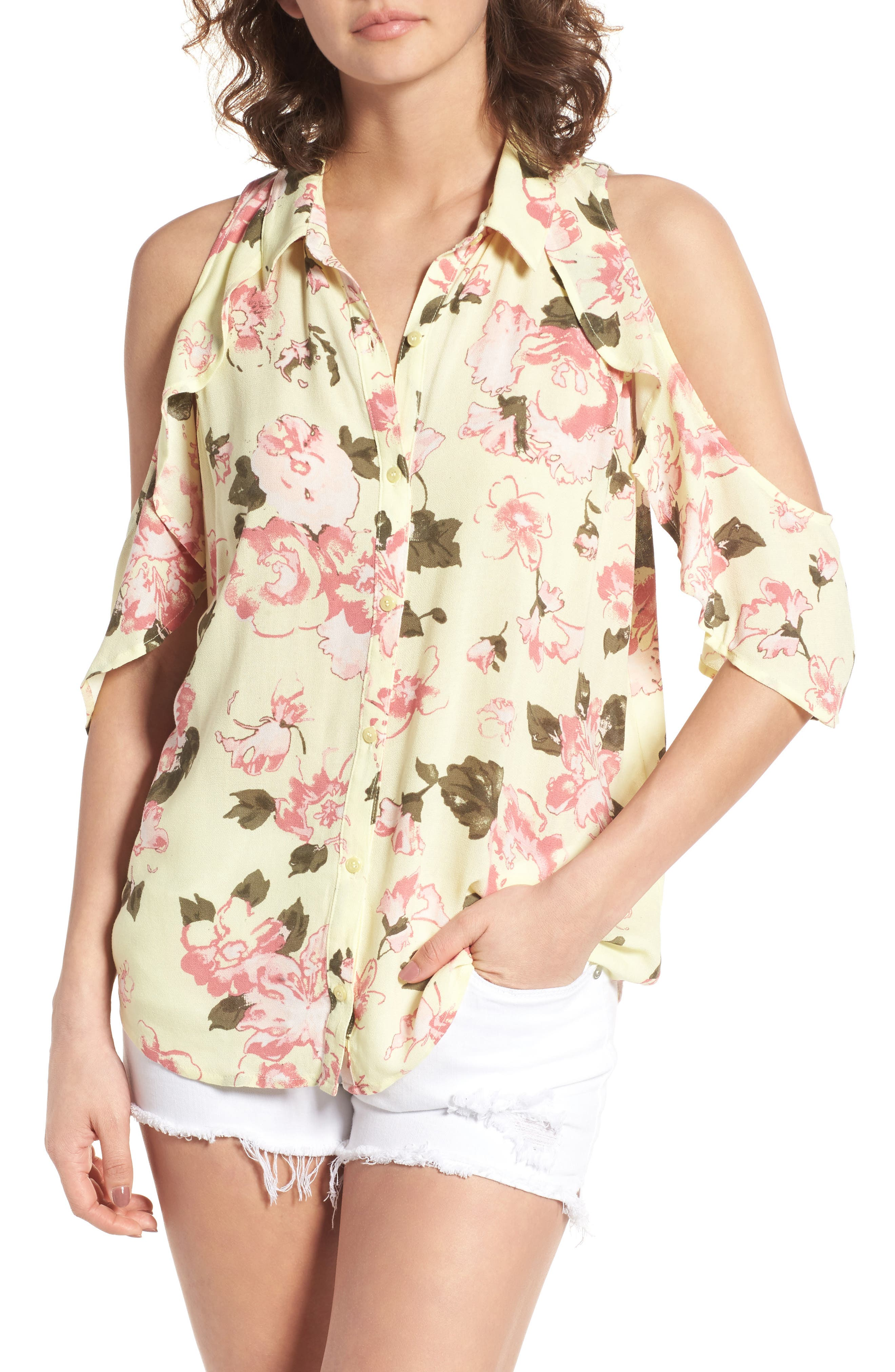 BP. Print Ruffle Cold Shoulder Top