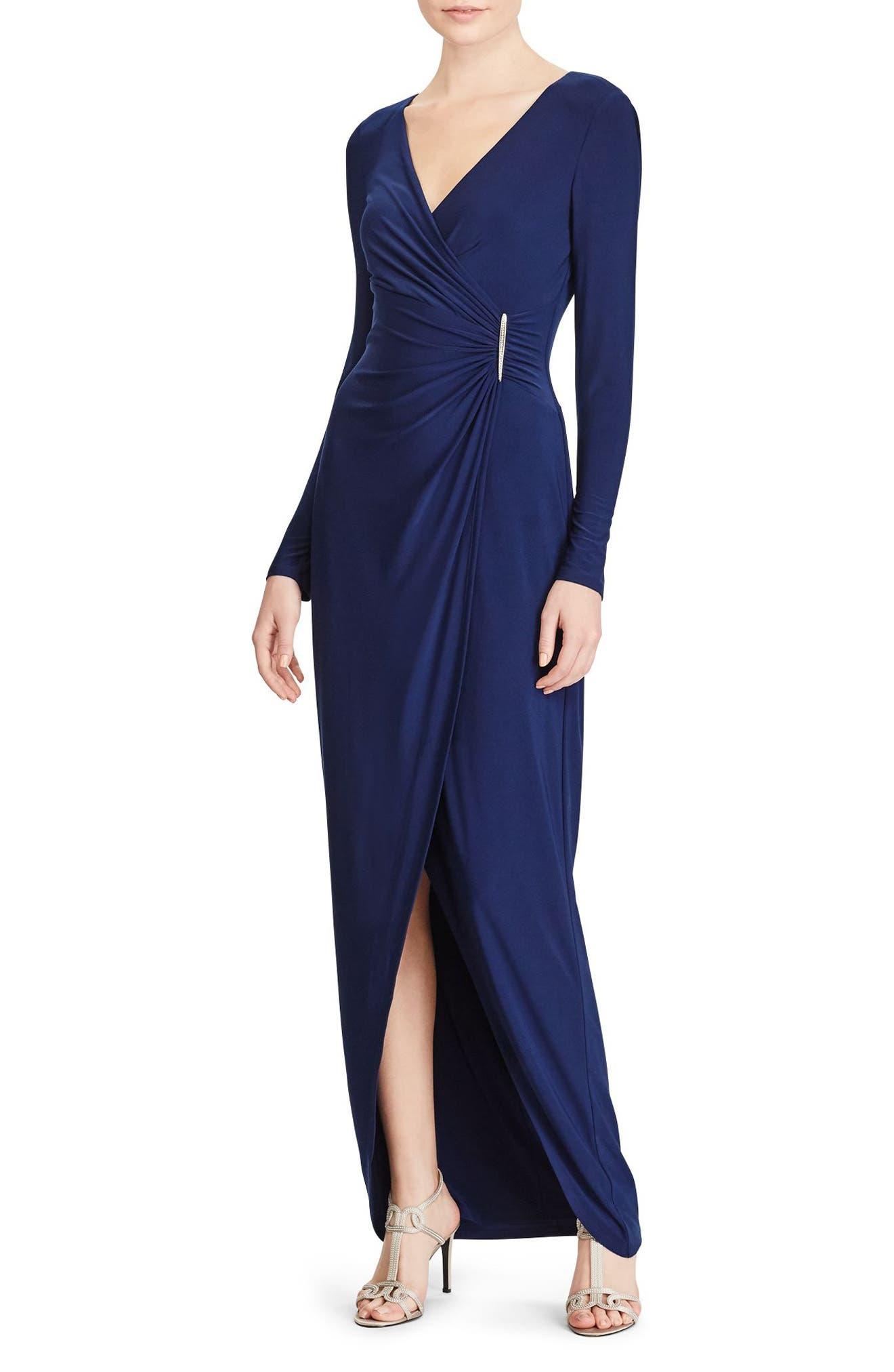 Lauren Ralph Lauren Safronette Faux Wrap Gown