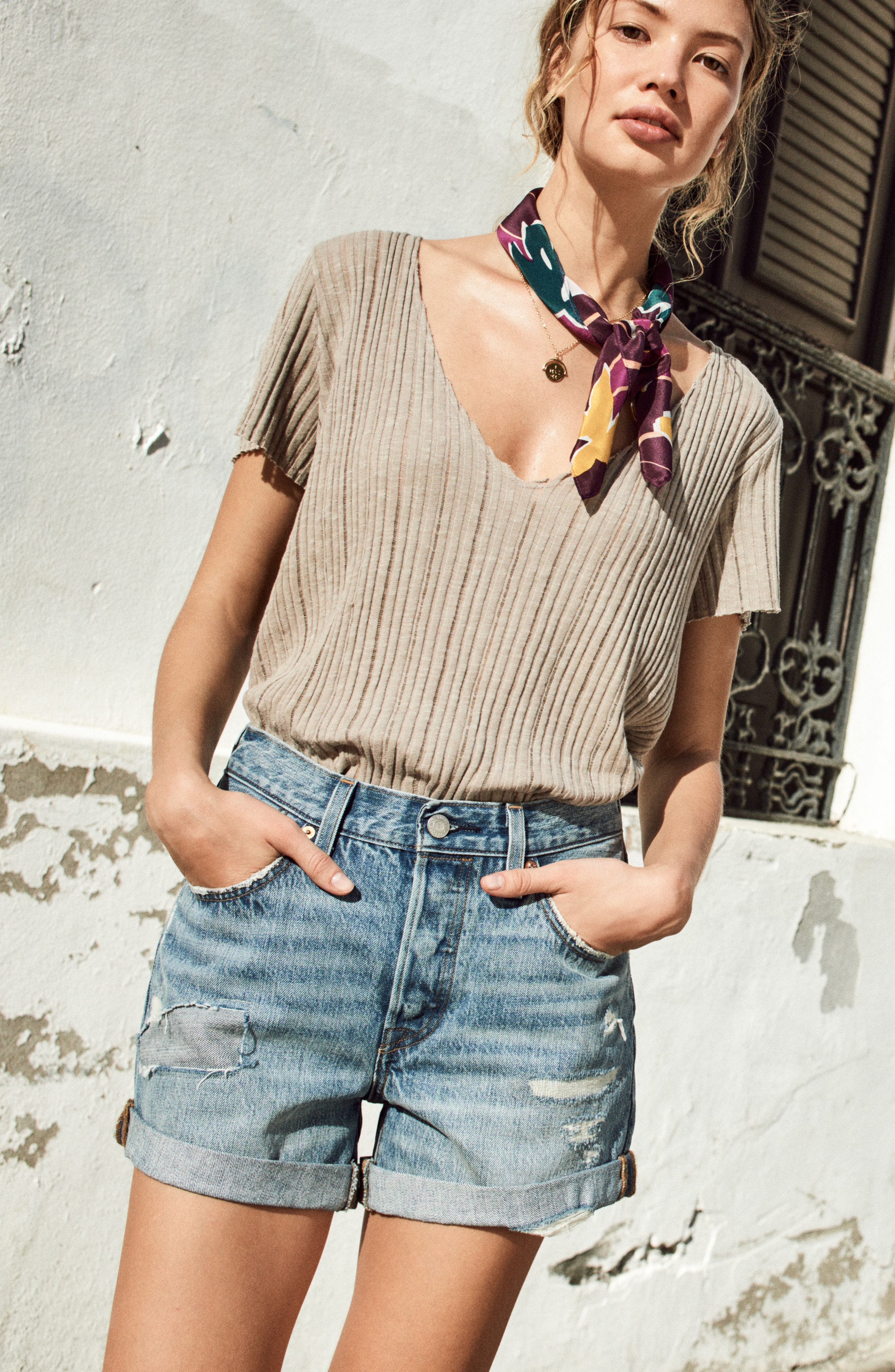 Project Social T Tee & Levi's® Shorts Outfit with Accessories