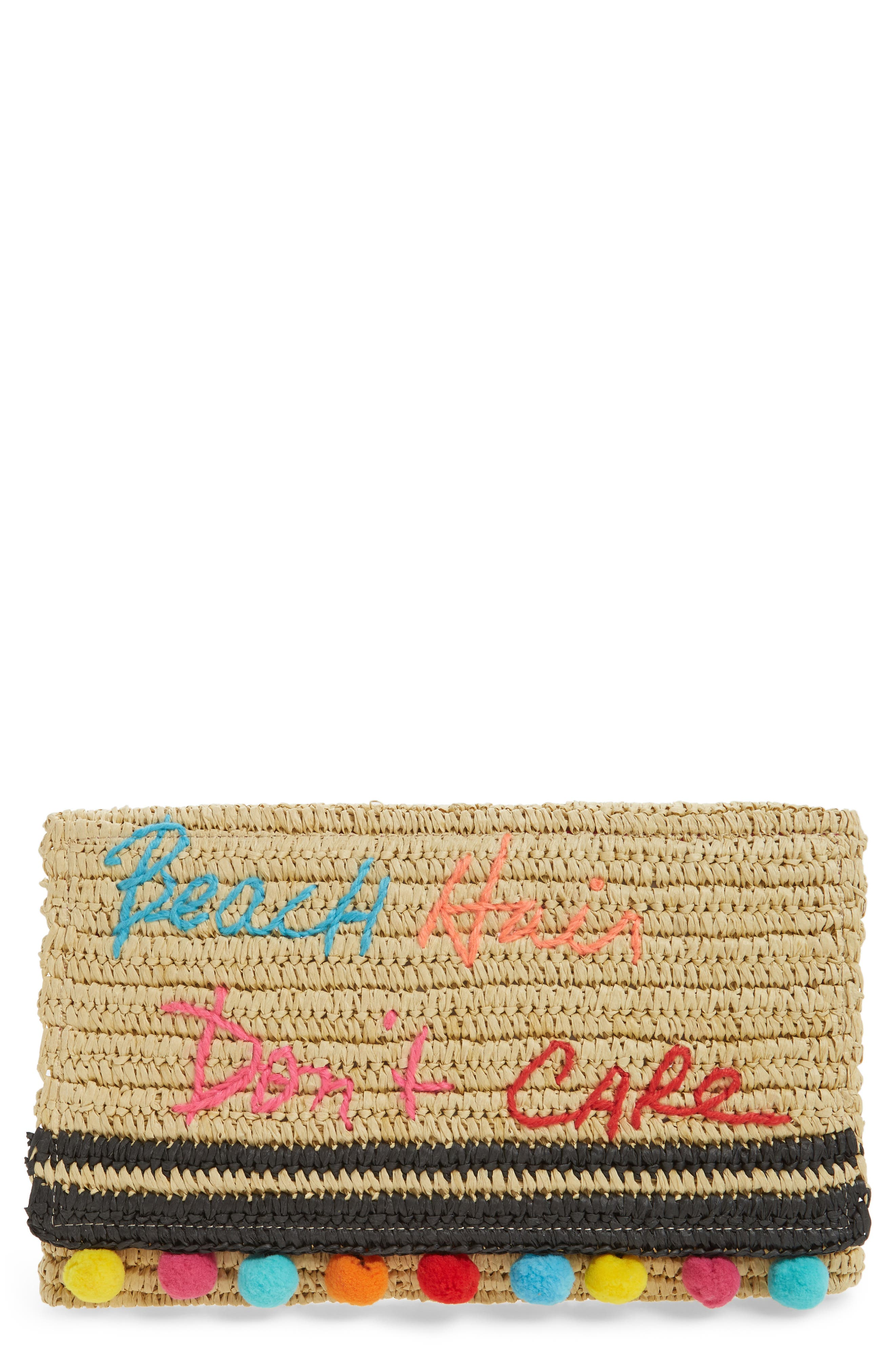 Main Image - Rebecca Minkoff Beach Hair Pompom Straw Clutch
