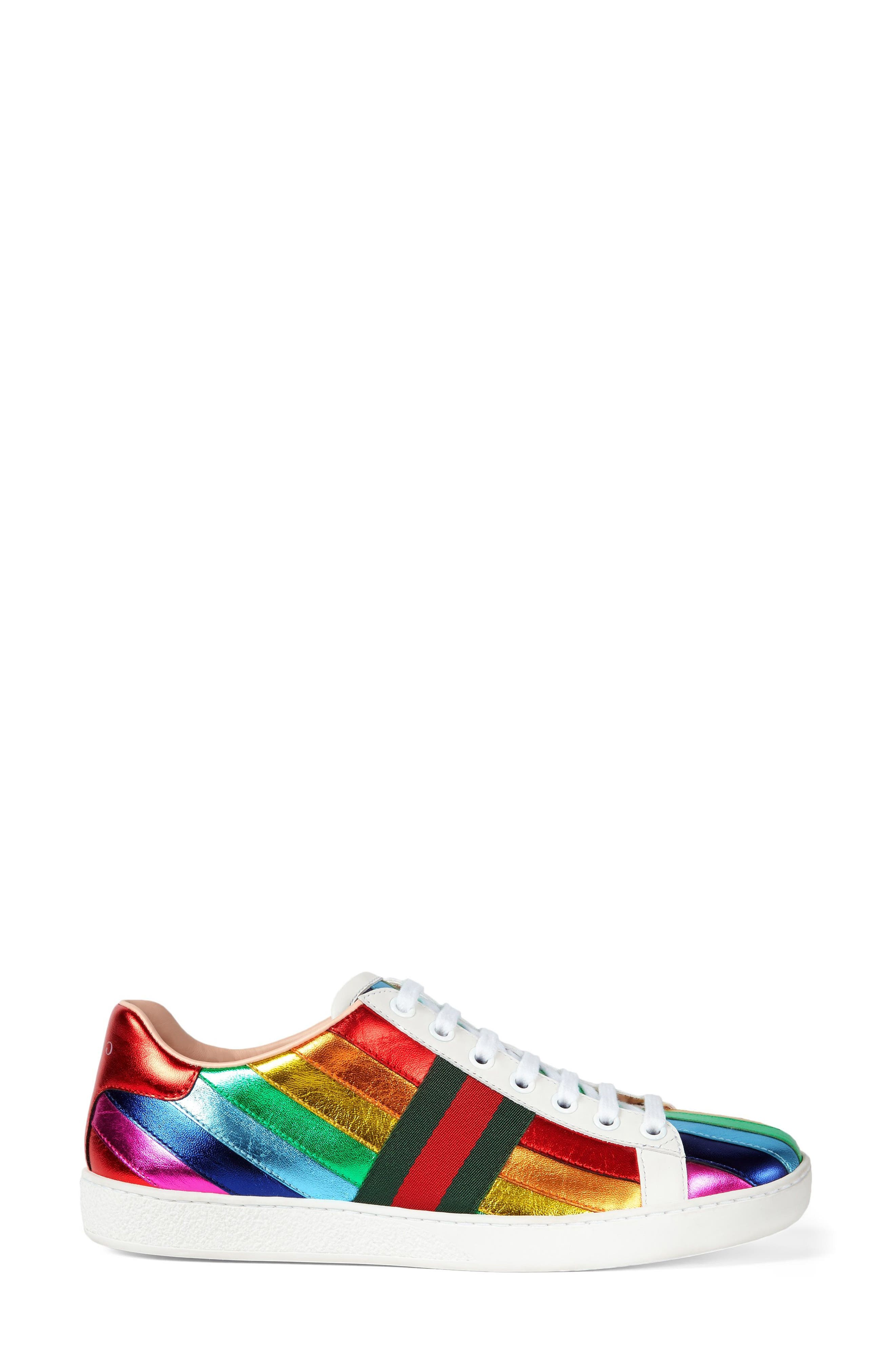 Alternate Image 1 Selected - Gucci New Ace Rainbow Sneaker (Women)