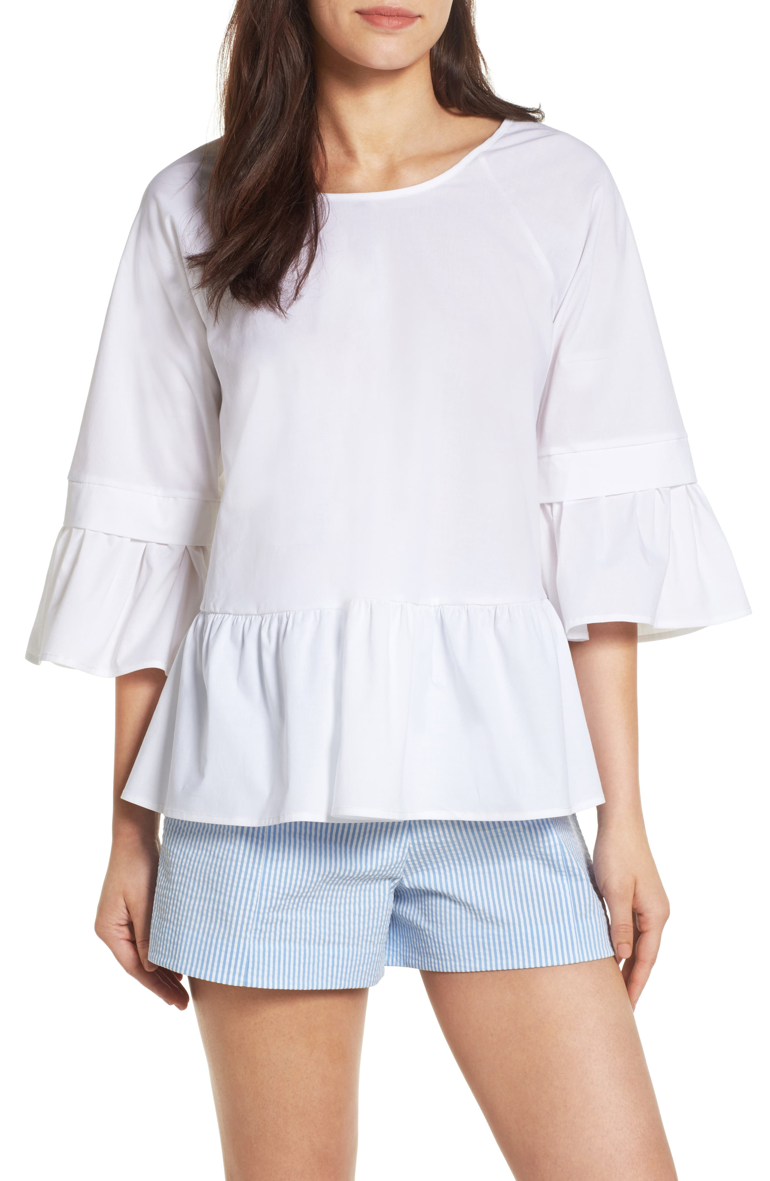 Pleione Crisscross Drop Ruffle Top