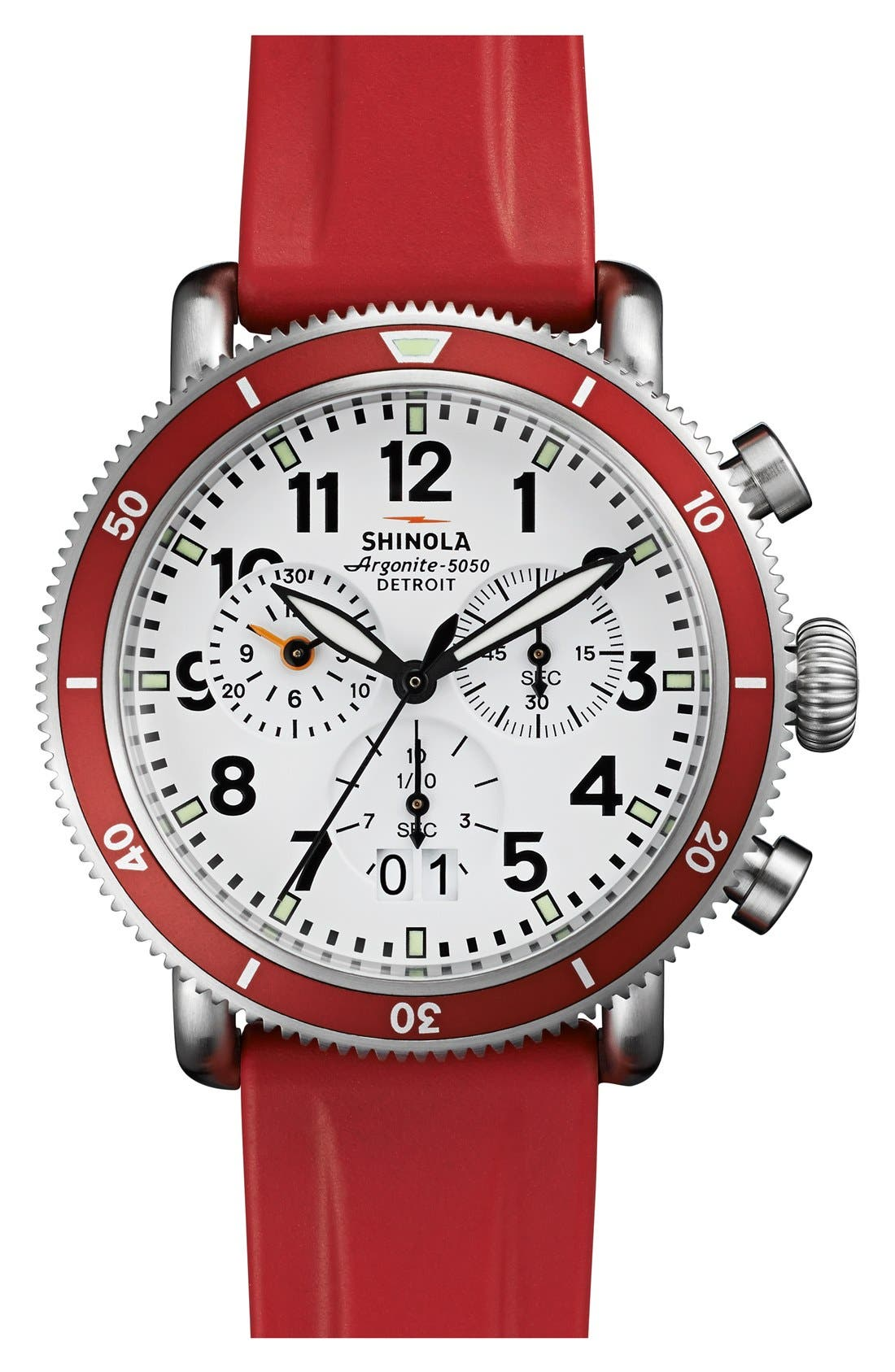 Alternate Image 1 Selected - Shinola 'The Runwell' Chronograph Rubber Strap Watch, 42mm