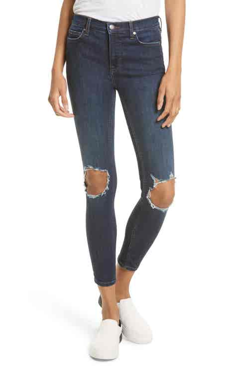 High Rise Busted Knee Skinny Jeans (Dark Blue)