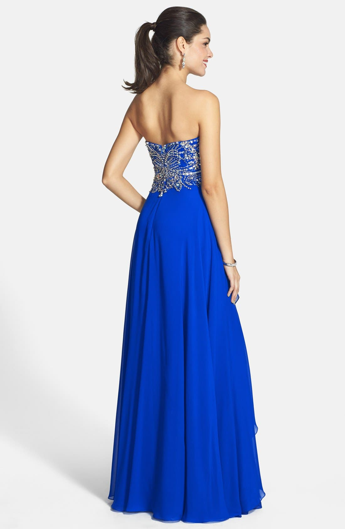 Alternate Image 2  - Alyce Paris Embellished Layered Chiffon Strapless Gown