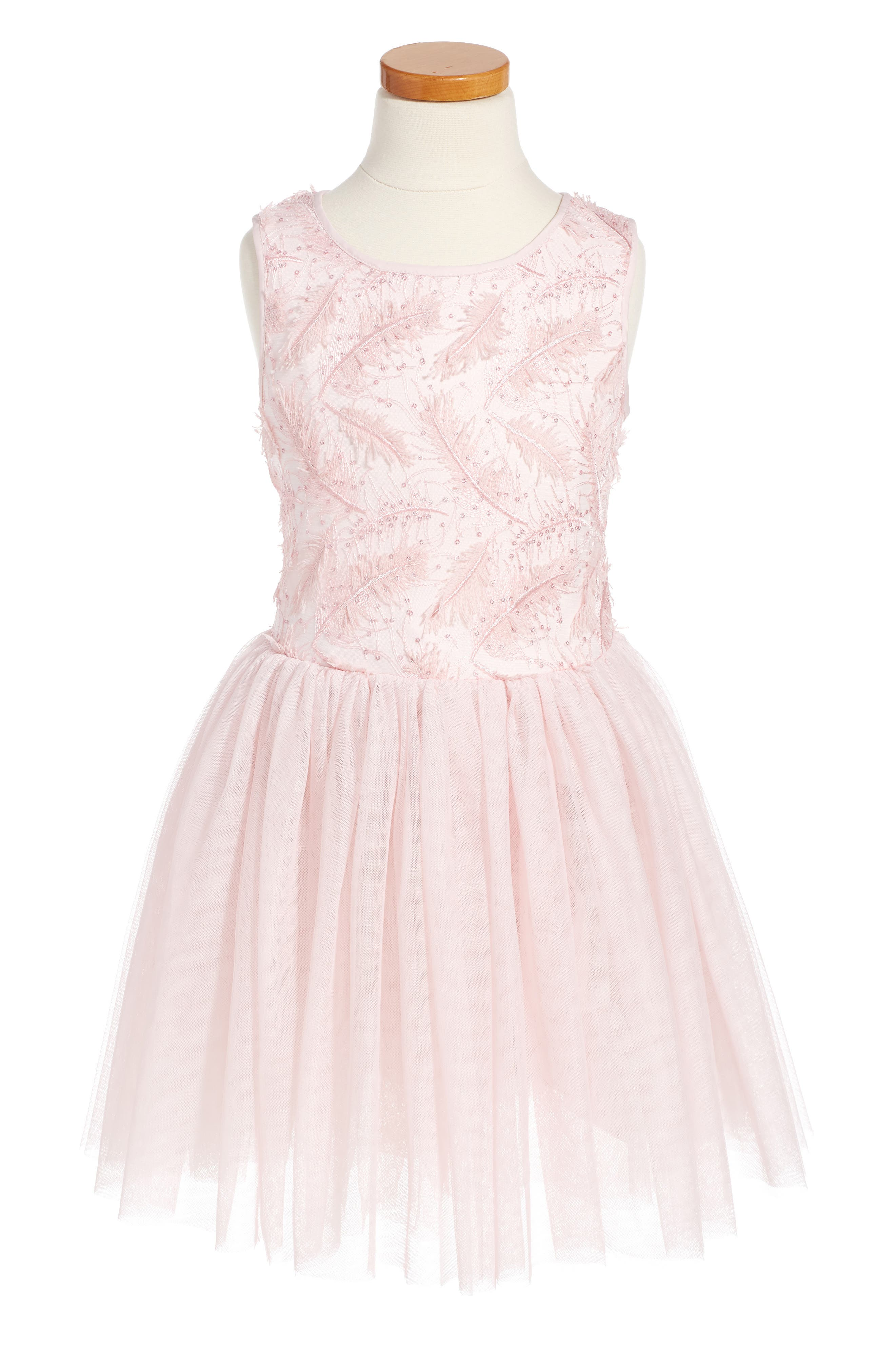 Pippa & Julie Feather Tulle Party Dress (Toddler Girls, Little Girls & Big Girls)