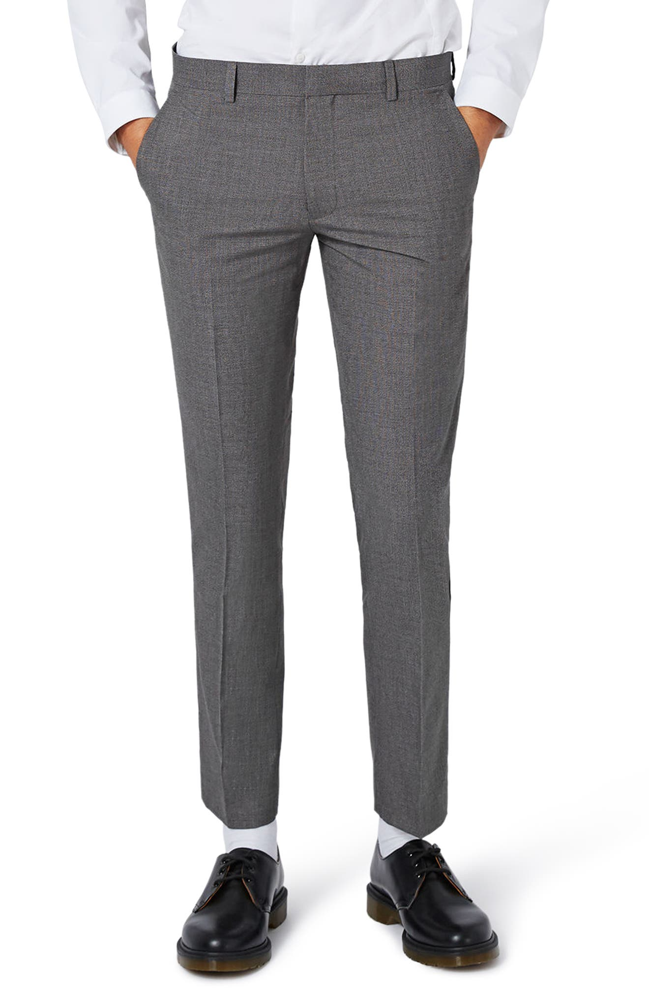 Topman Textured Skinny Fit Suit Trousers