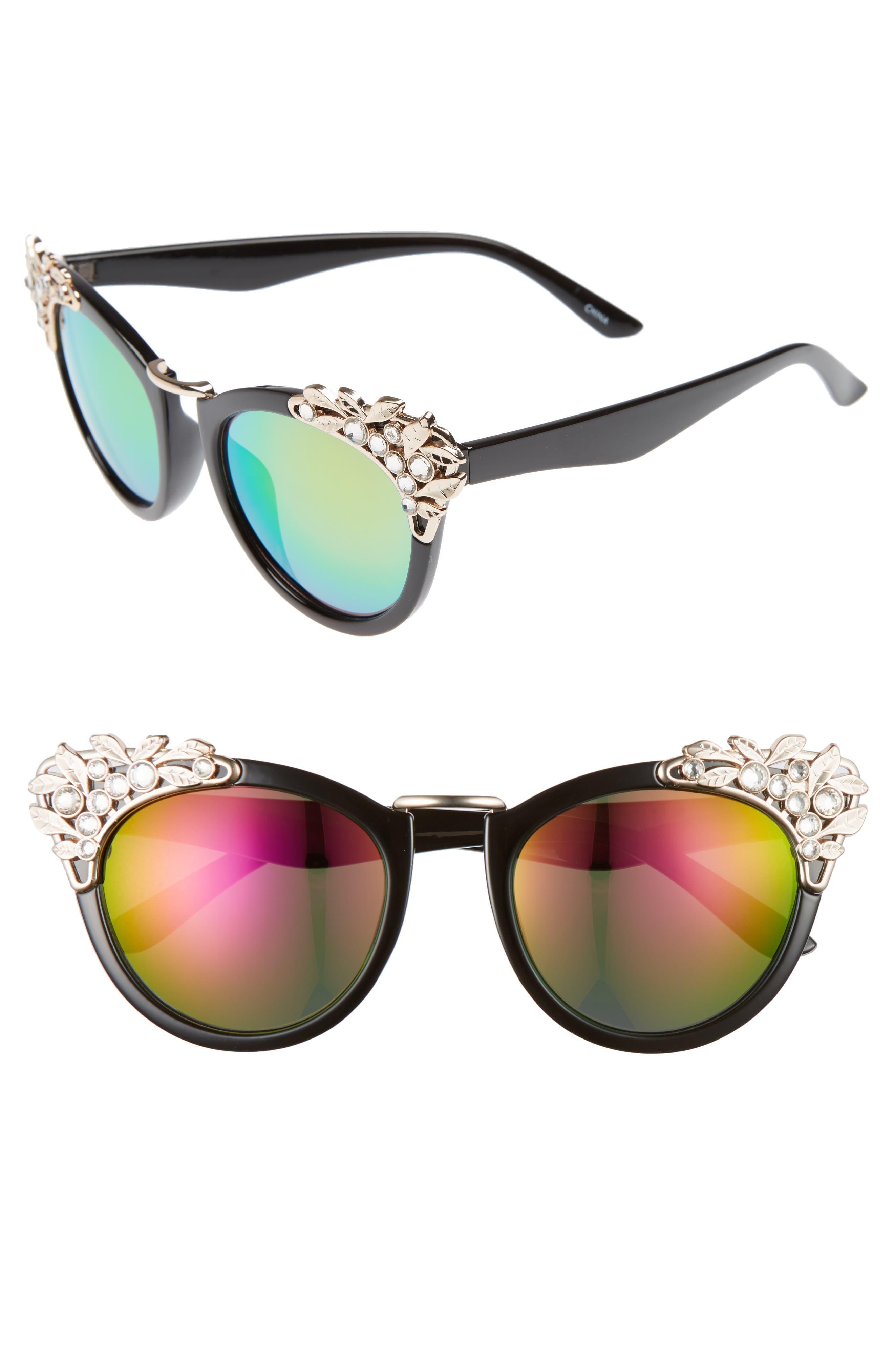 Leith 53mm Crystal Embellished Cat Eye Sunglasses