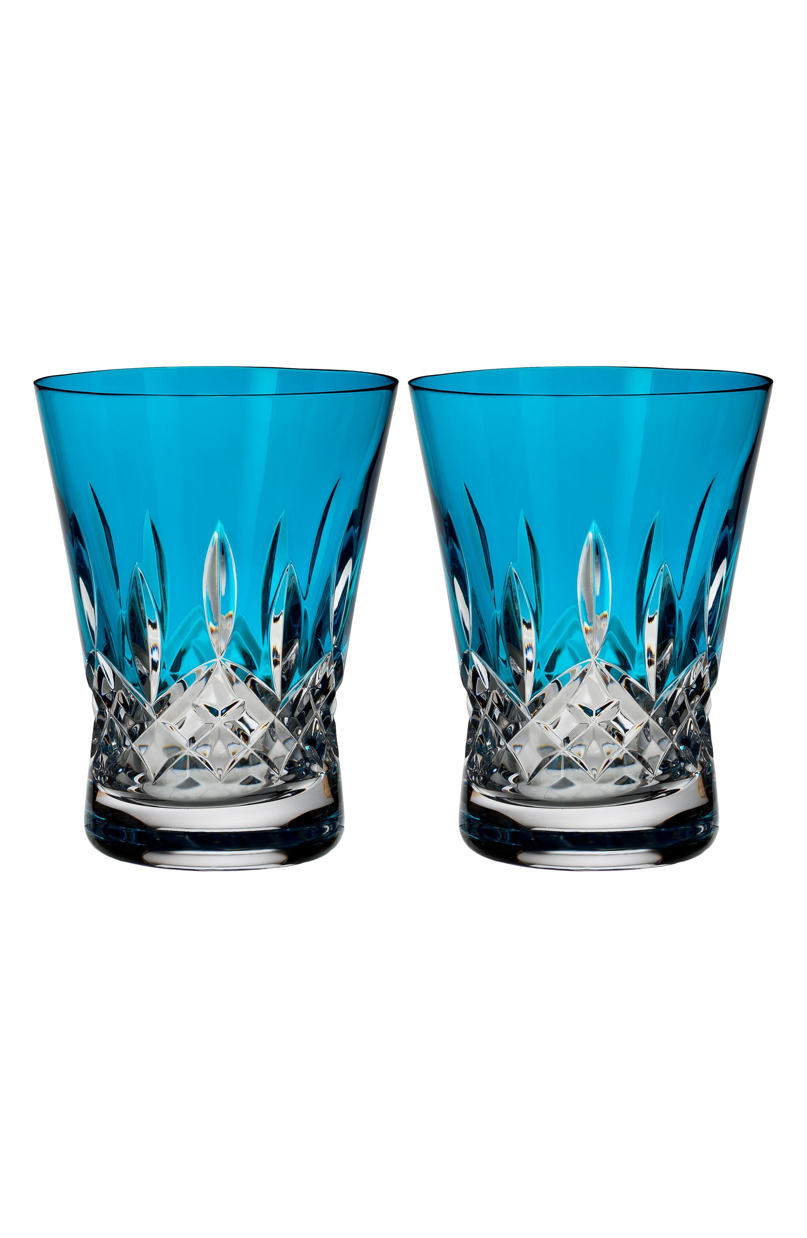 Waterford Lismore Pops Set of 2 Aqua Lead Crystal Double Old Fashioned Glasses