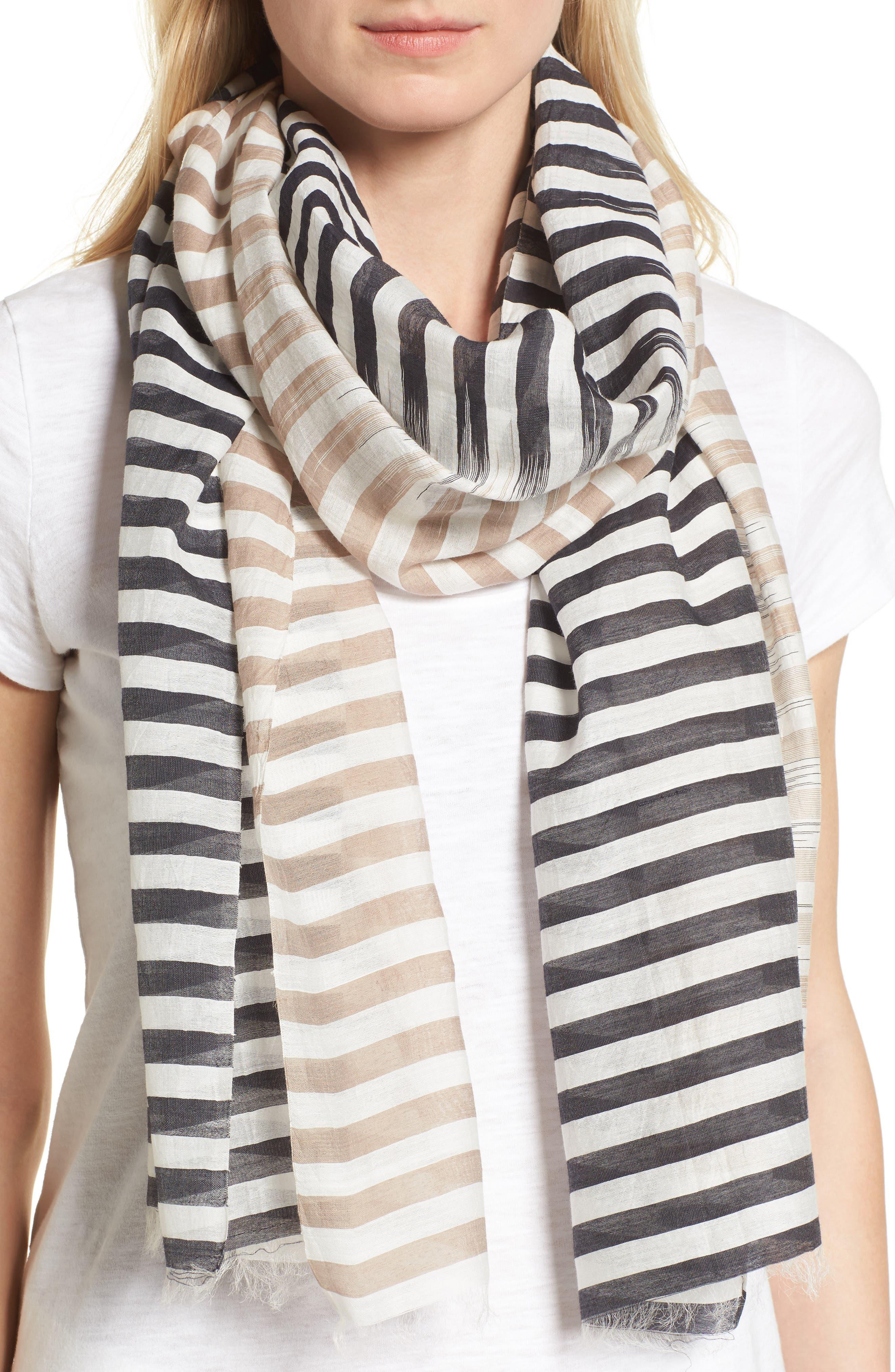 Eileen Fisher Stripe Organic Cotton & Silk Scarf