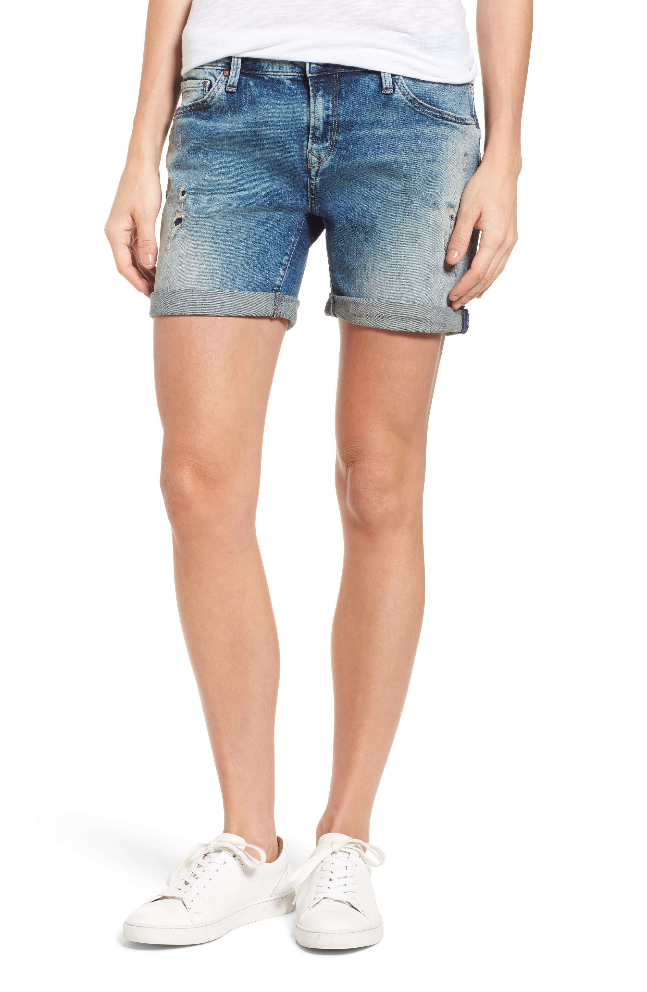 Mavi Jeans Pixie Ripped Denim Boyfriend Shorts (Mid Vintage)