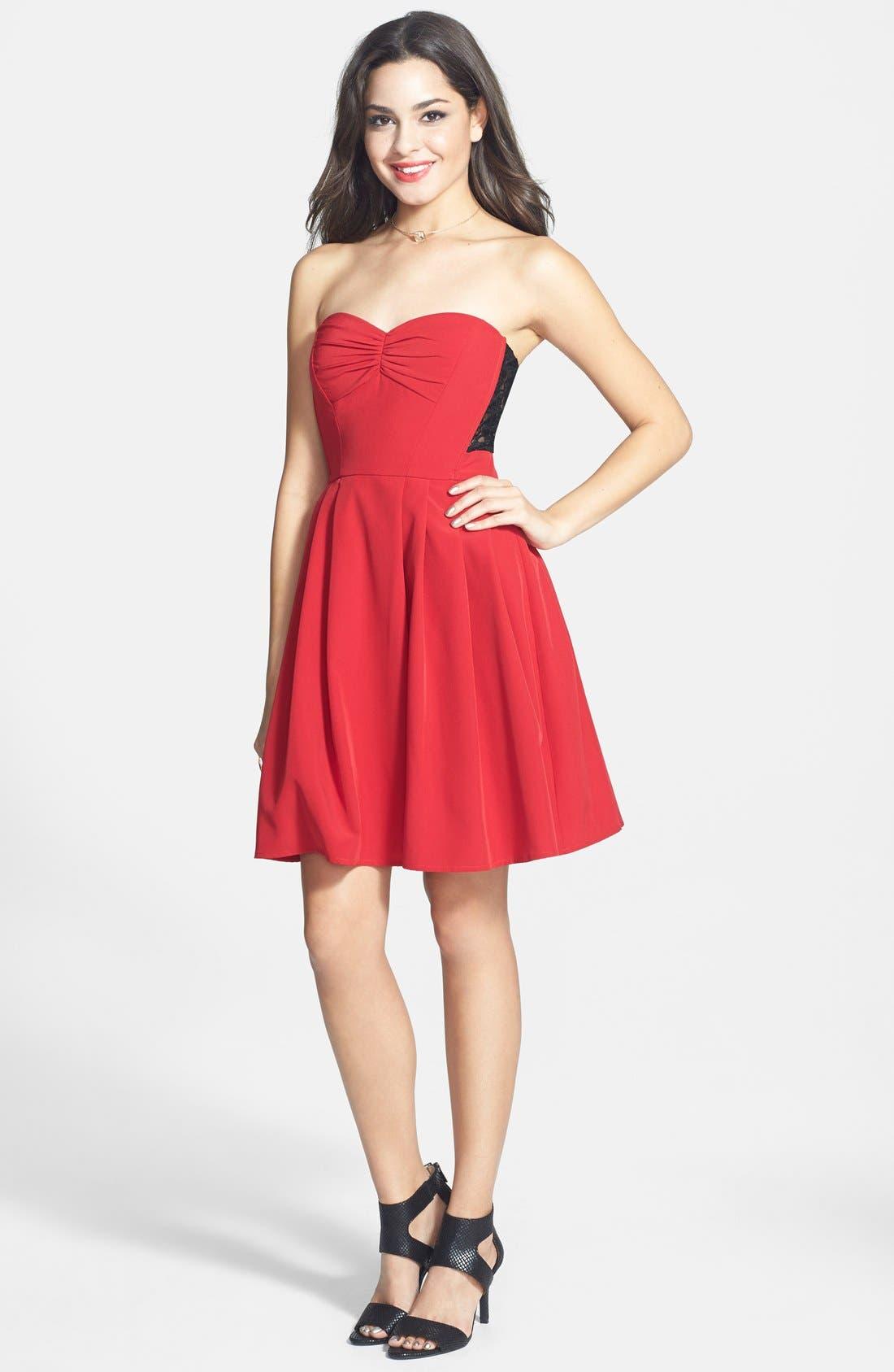 Main Image - a. drea Lace Back Fit & Flare Dress (Juniors)