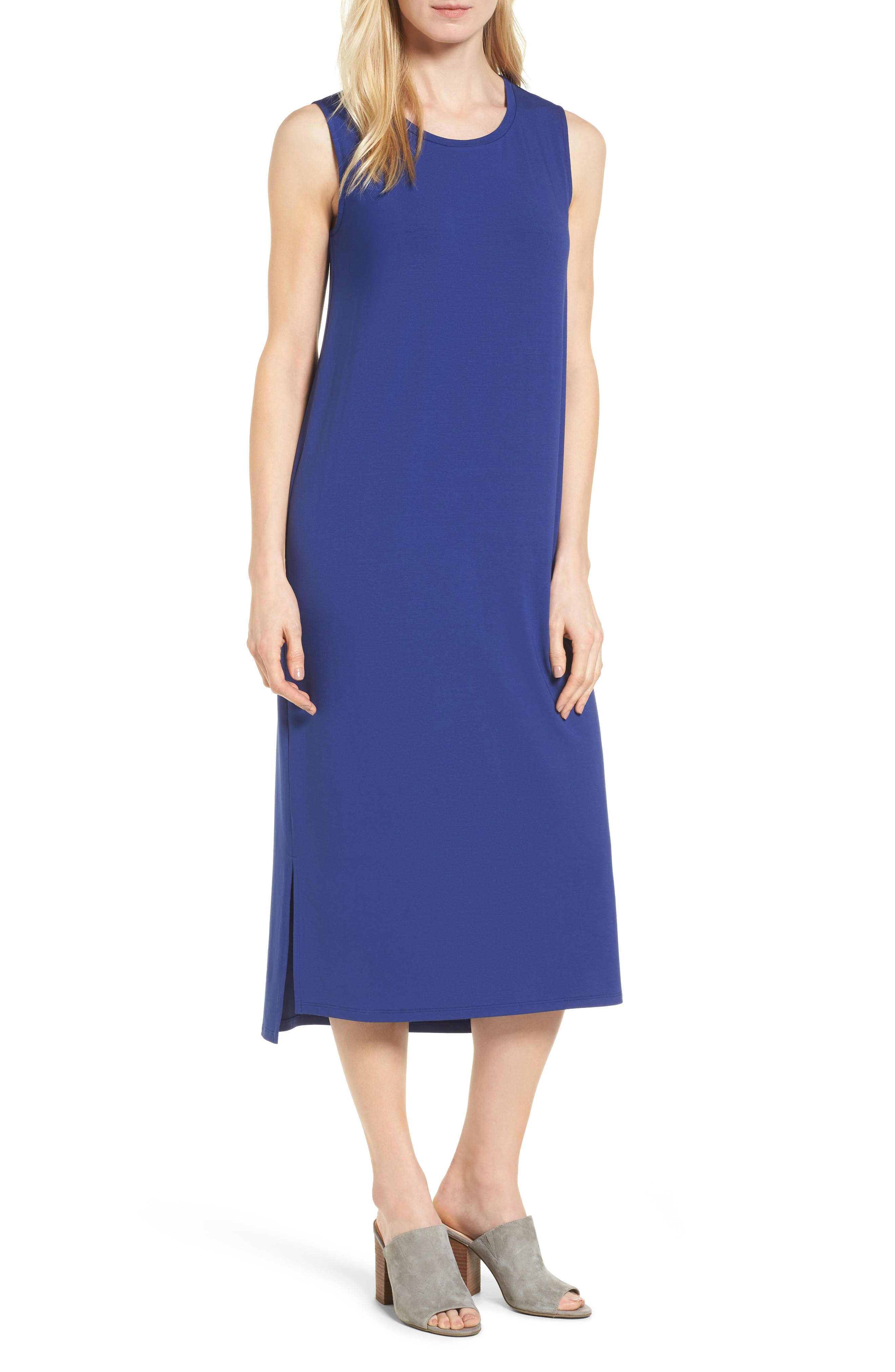 Eileen Fisher Round Neck Calf Length Jersey Dress (Regular & Petite)