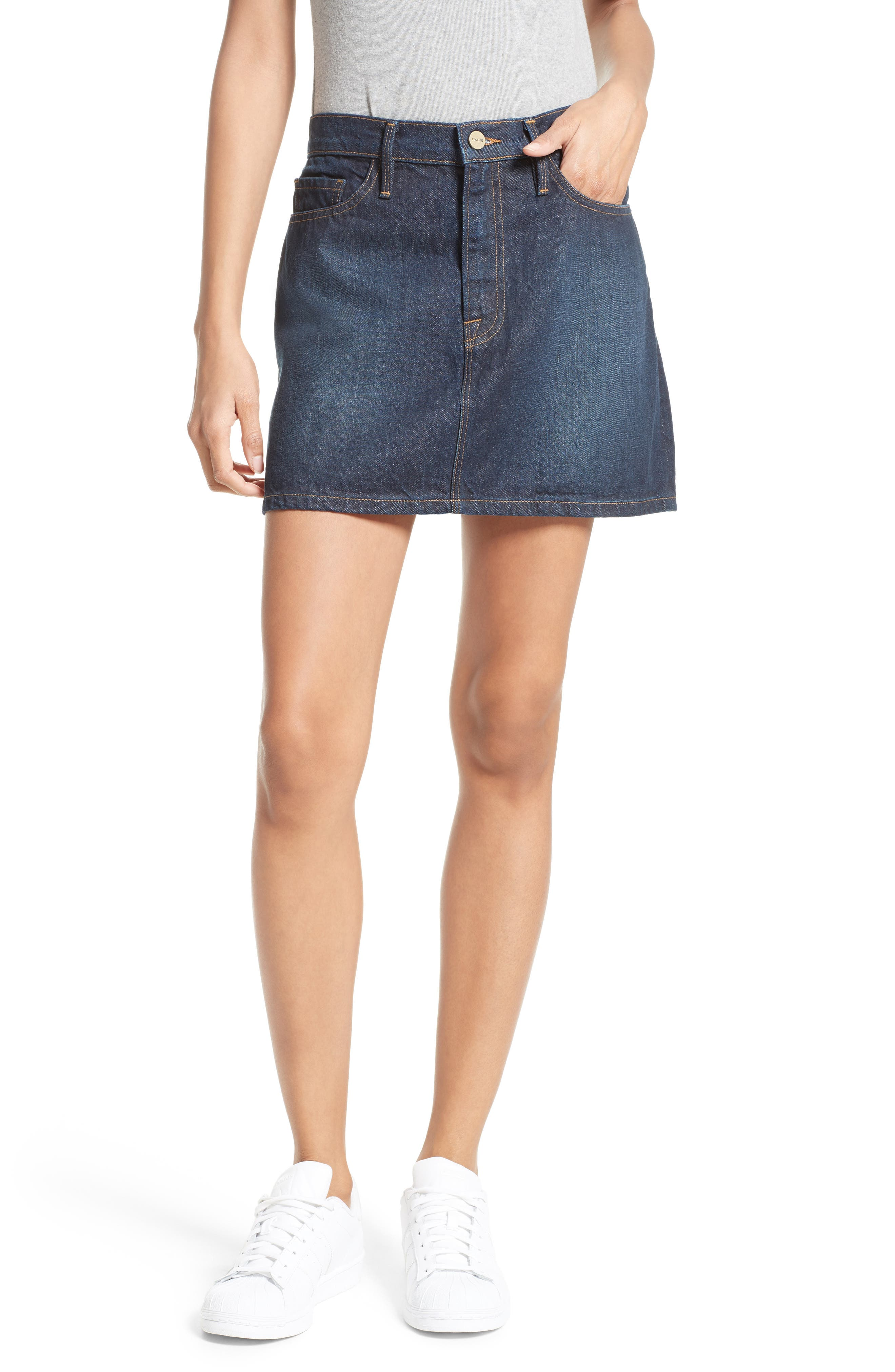 FRAME Le Mini Denim Skirt (Emerald City)