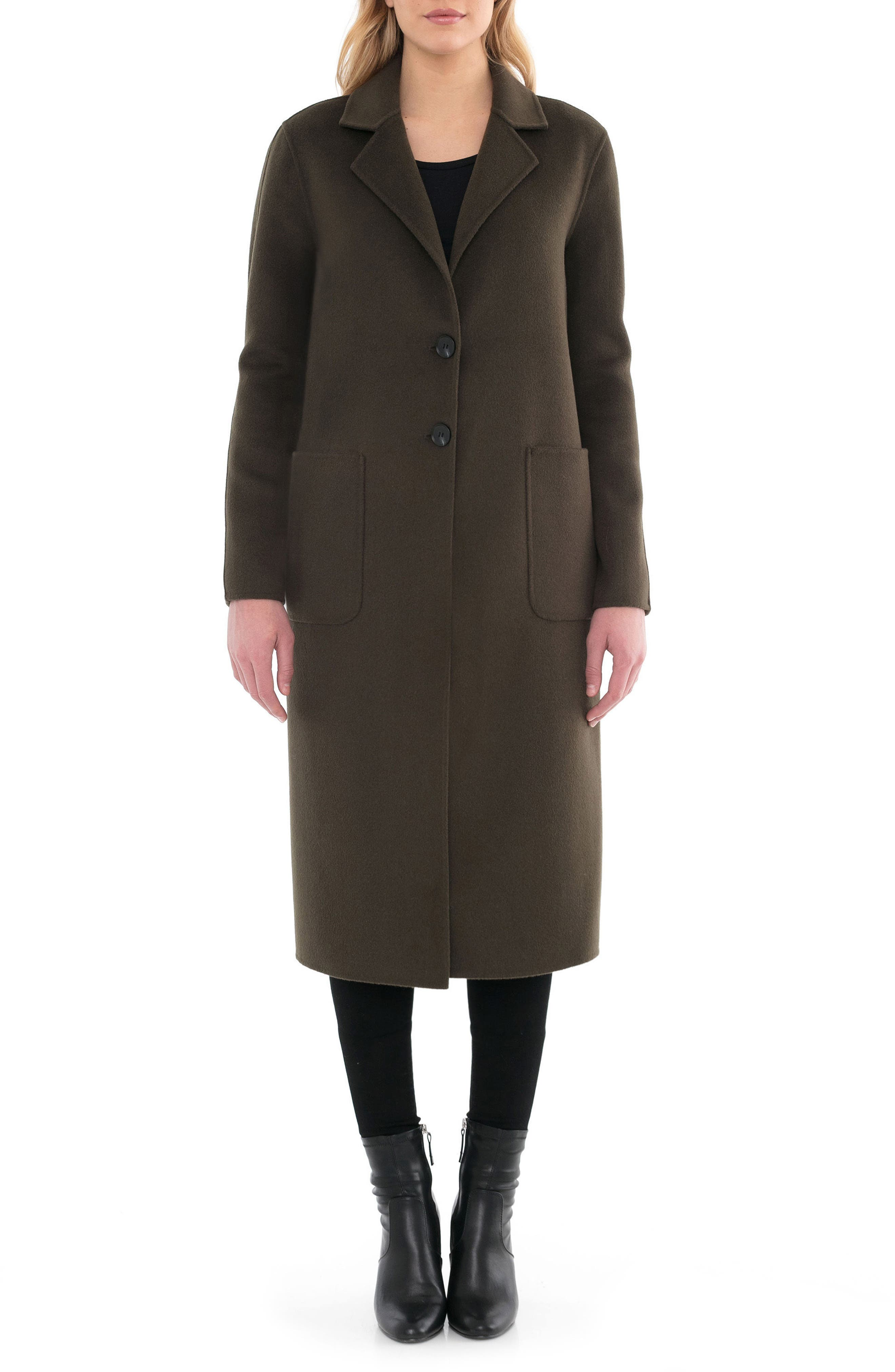 Badgley Mischka Courtney Double Face Wool Blend Long Coat